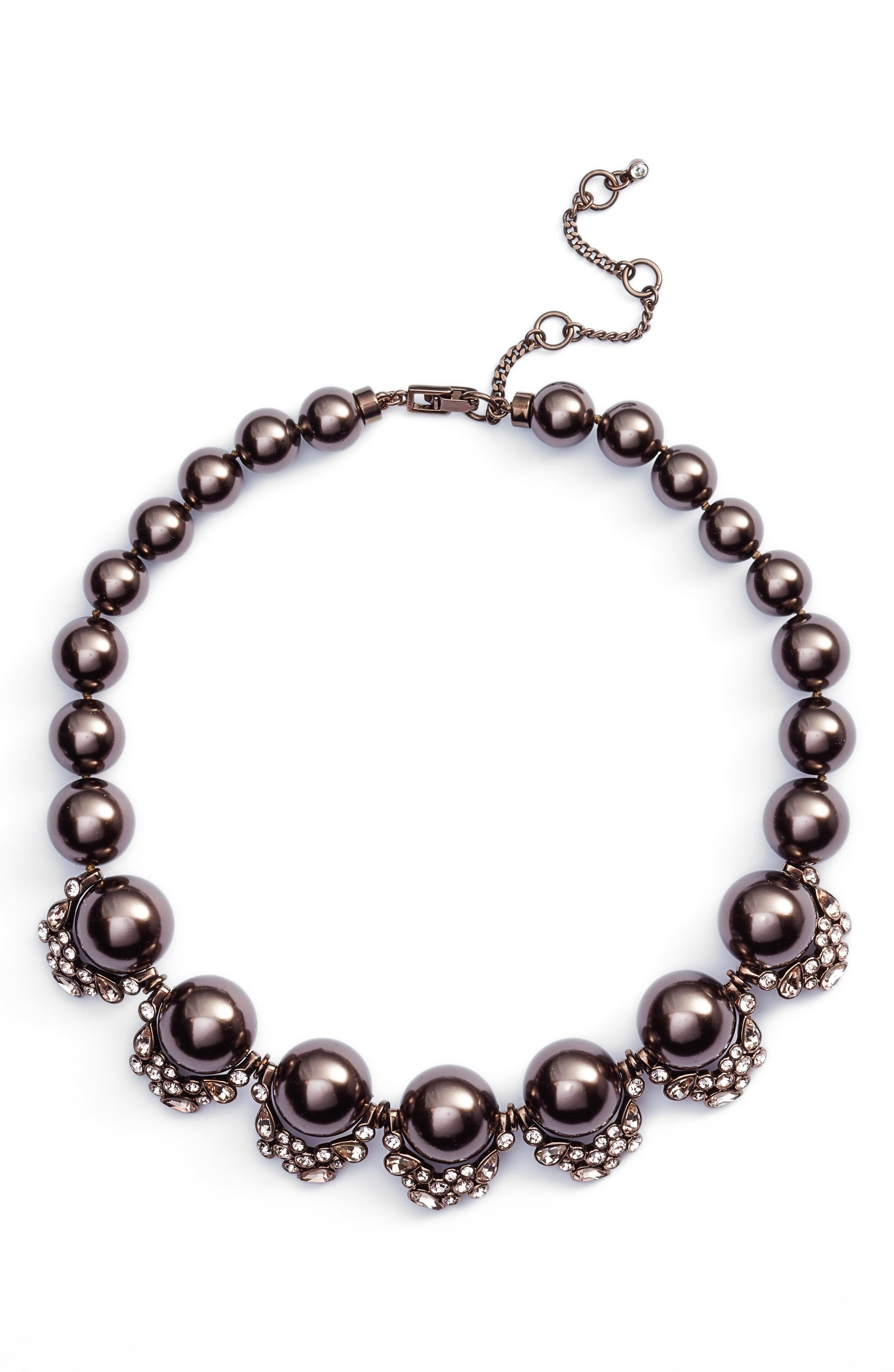 Imitation Pearl & Crystal Collar Necklace,                         Main,                         color, Brown