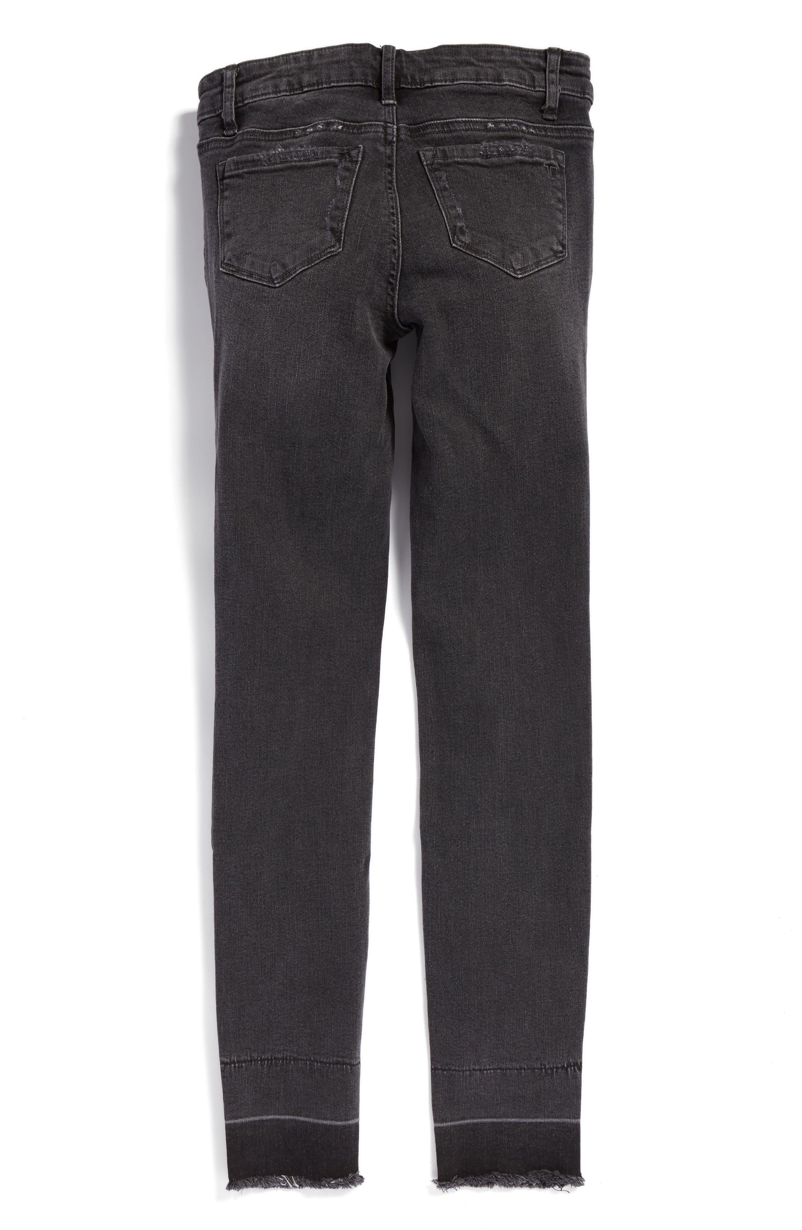 Imitation Pearl Embellished Skinny Jeans,                             Alternate thumbnail 2, color,                             Dark Grey