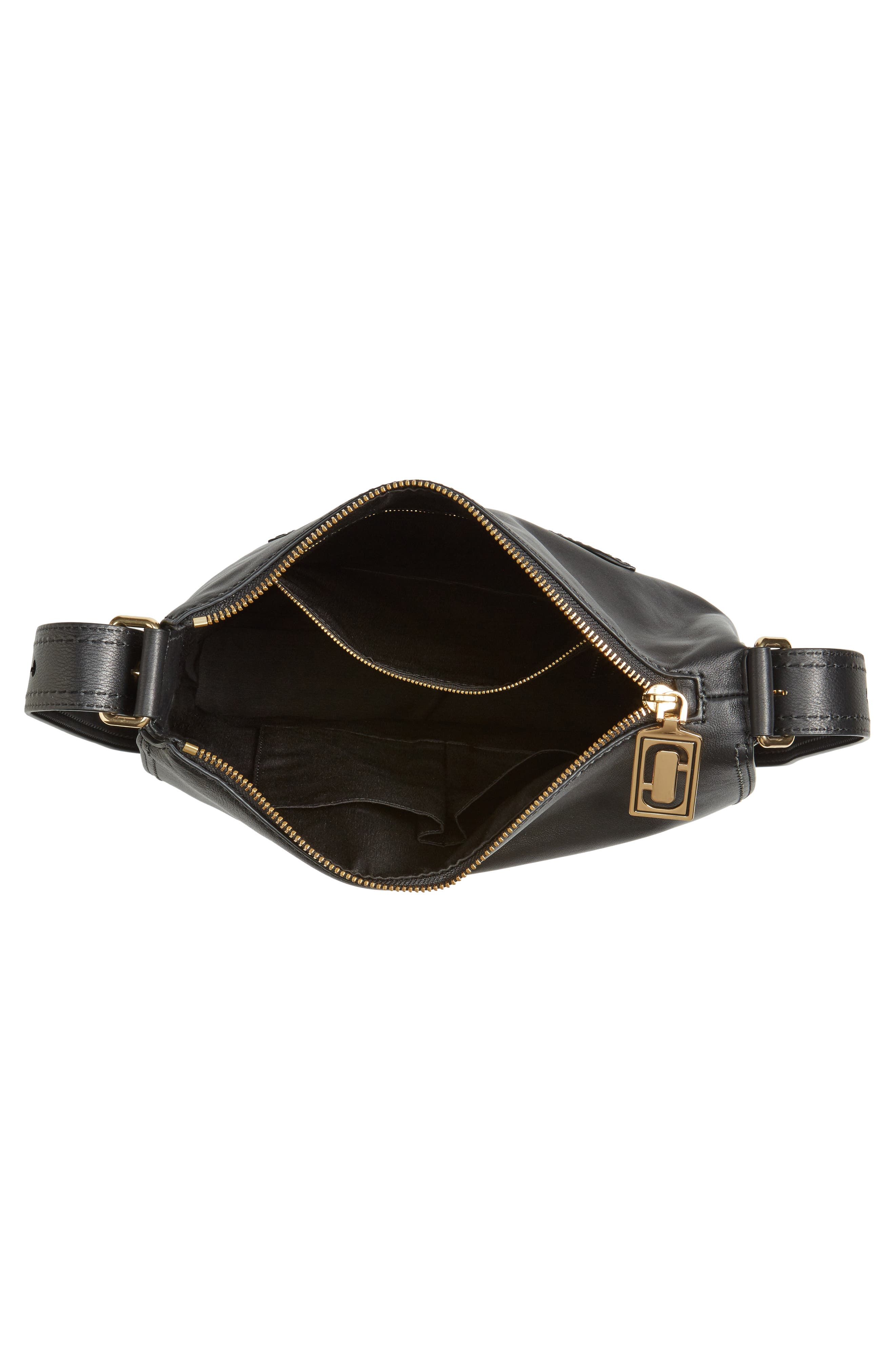 Downtown Stud Leather Shoulder Bag,                             Alternate thumbnail 3, color,                             Black