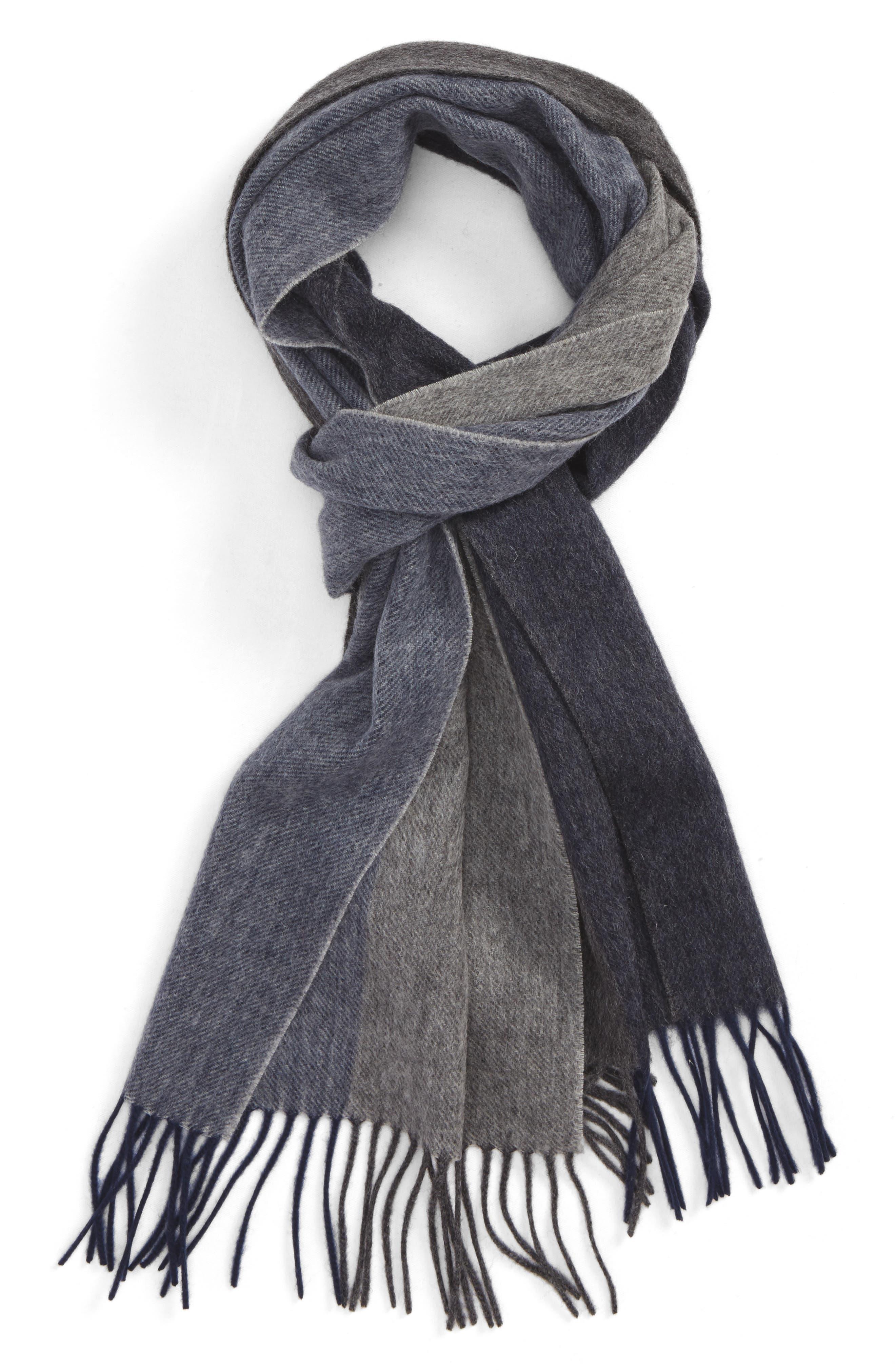 Colorblock Wool Scarf,                             Main thumbnail 1, color,                             Navy Midnight - Grey