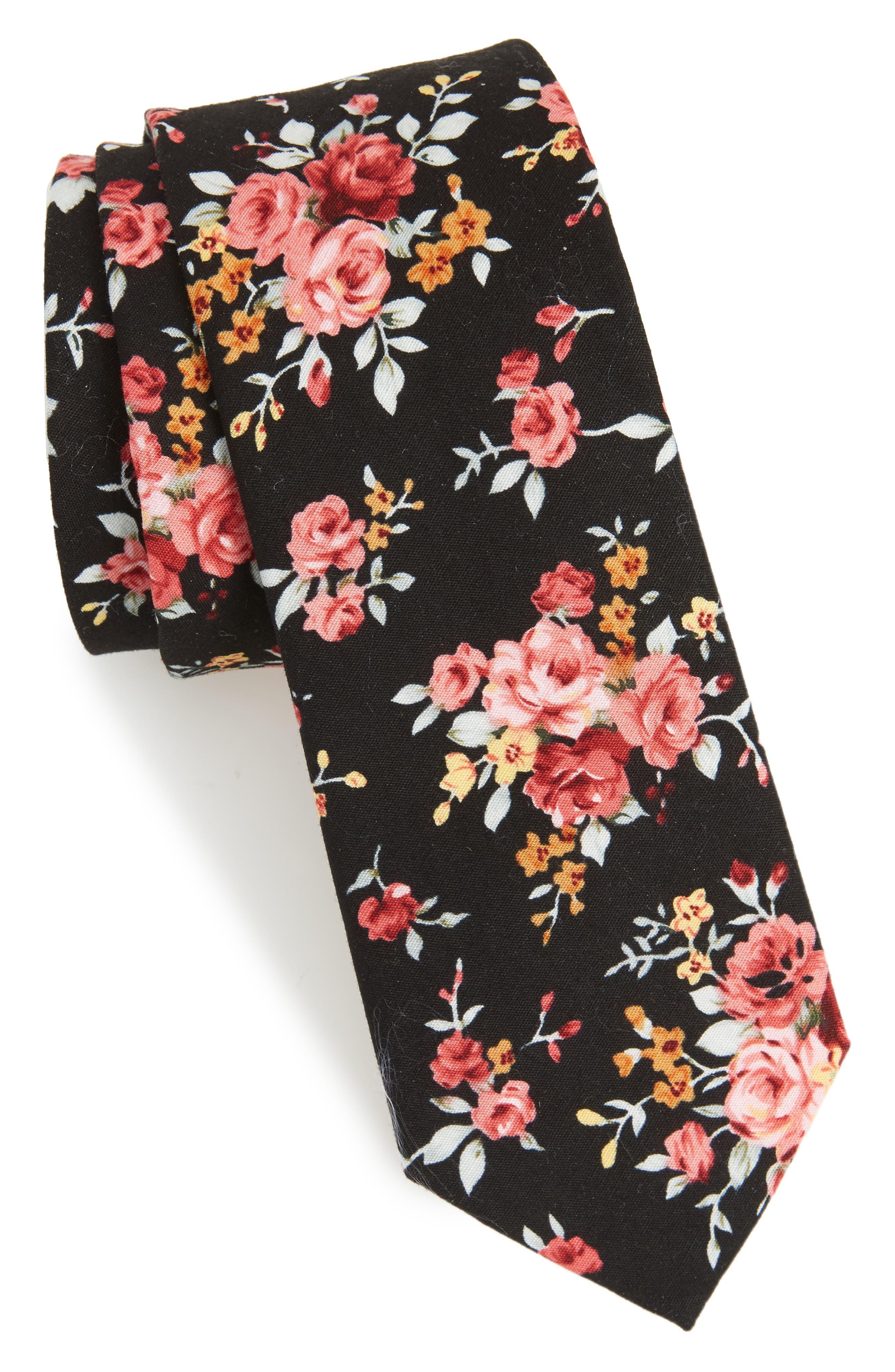 Knapp Floral Cotton Tie,                         Main,                         color, Black