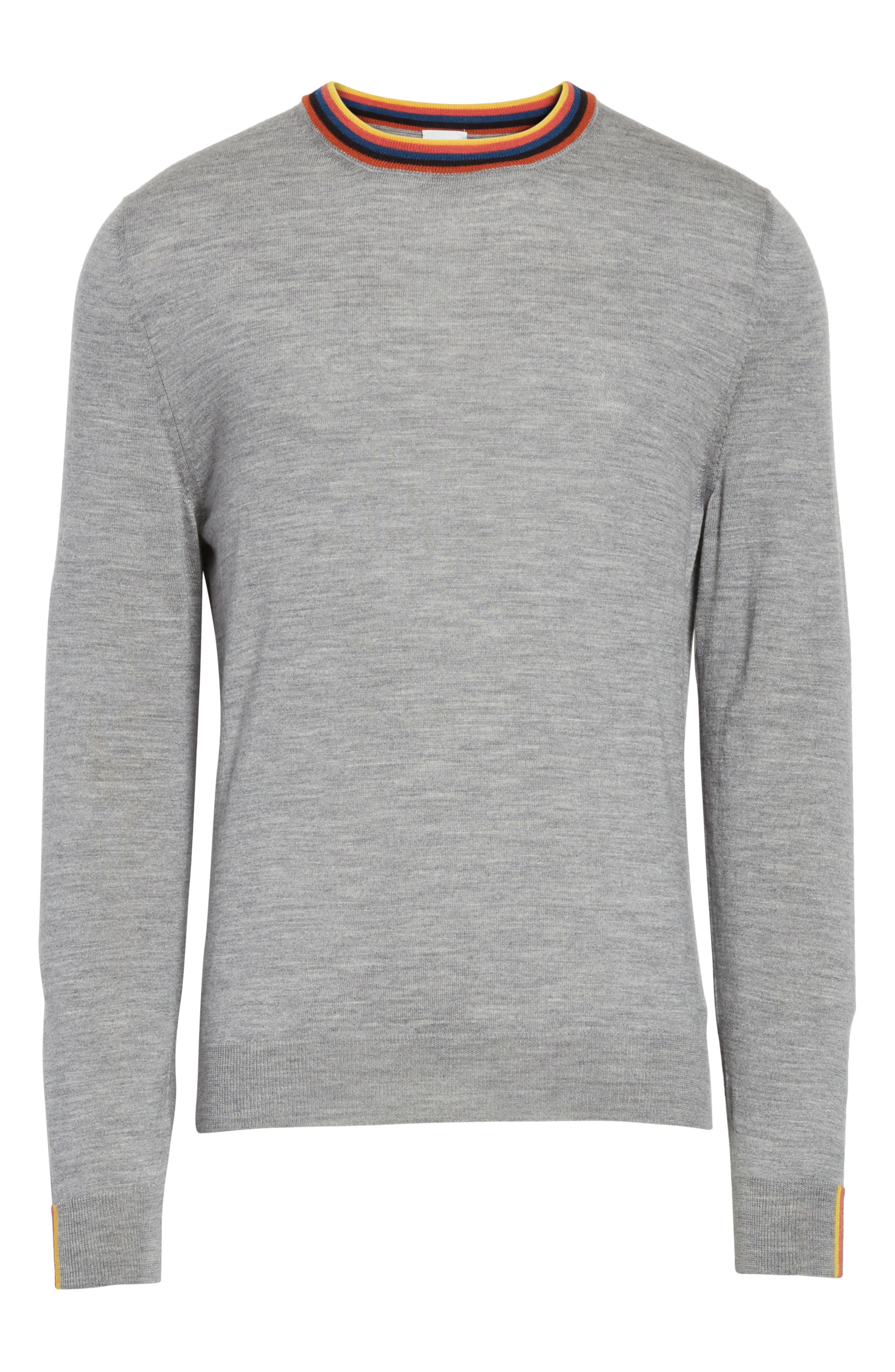 Artist Stripe Merino Wool Sweater,                             Alternate thumbnail 6, color,                             Grey