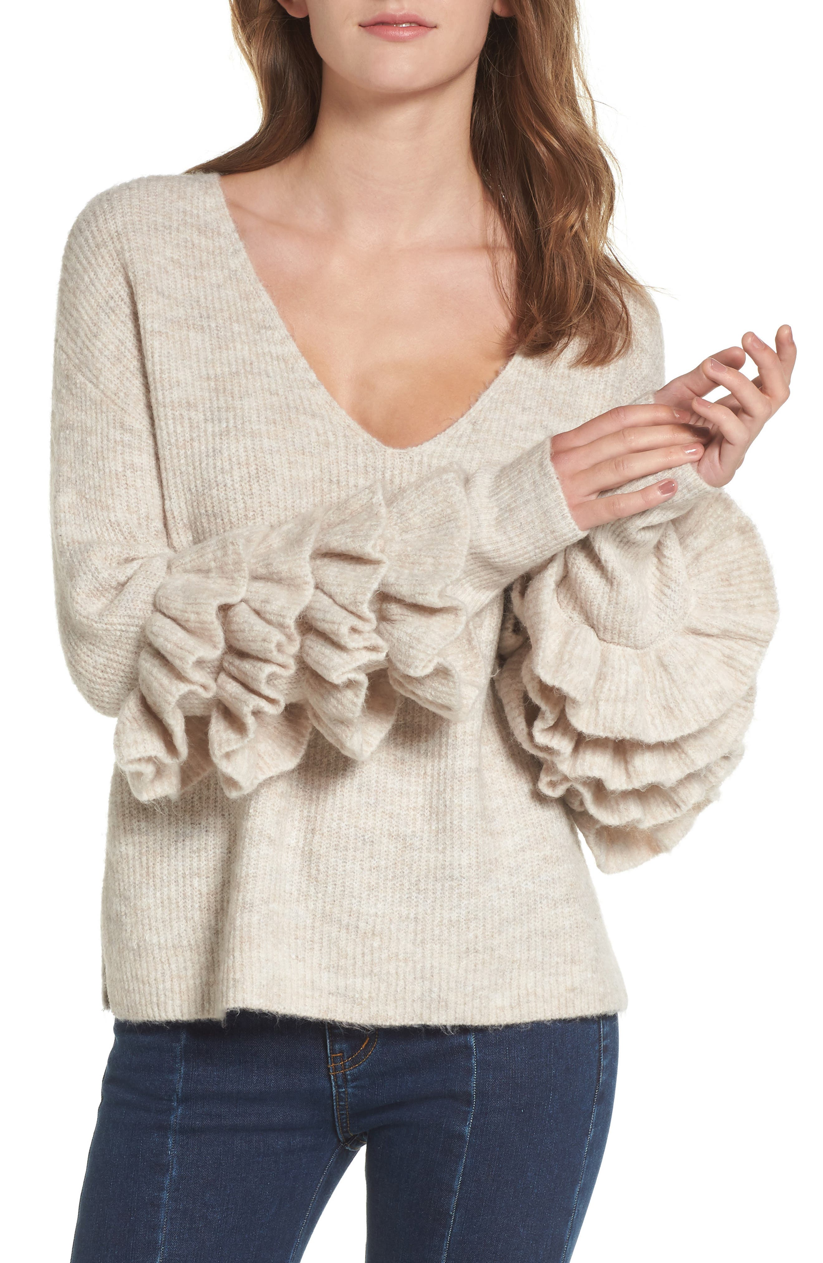 Ruffle Sleeve V-Neck Sweater,                         Main,                         color, Beige Oatmeal Heather