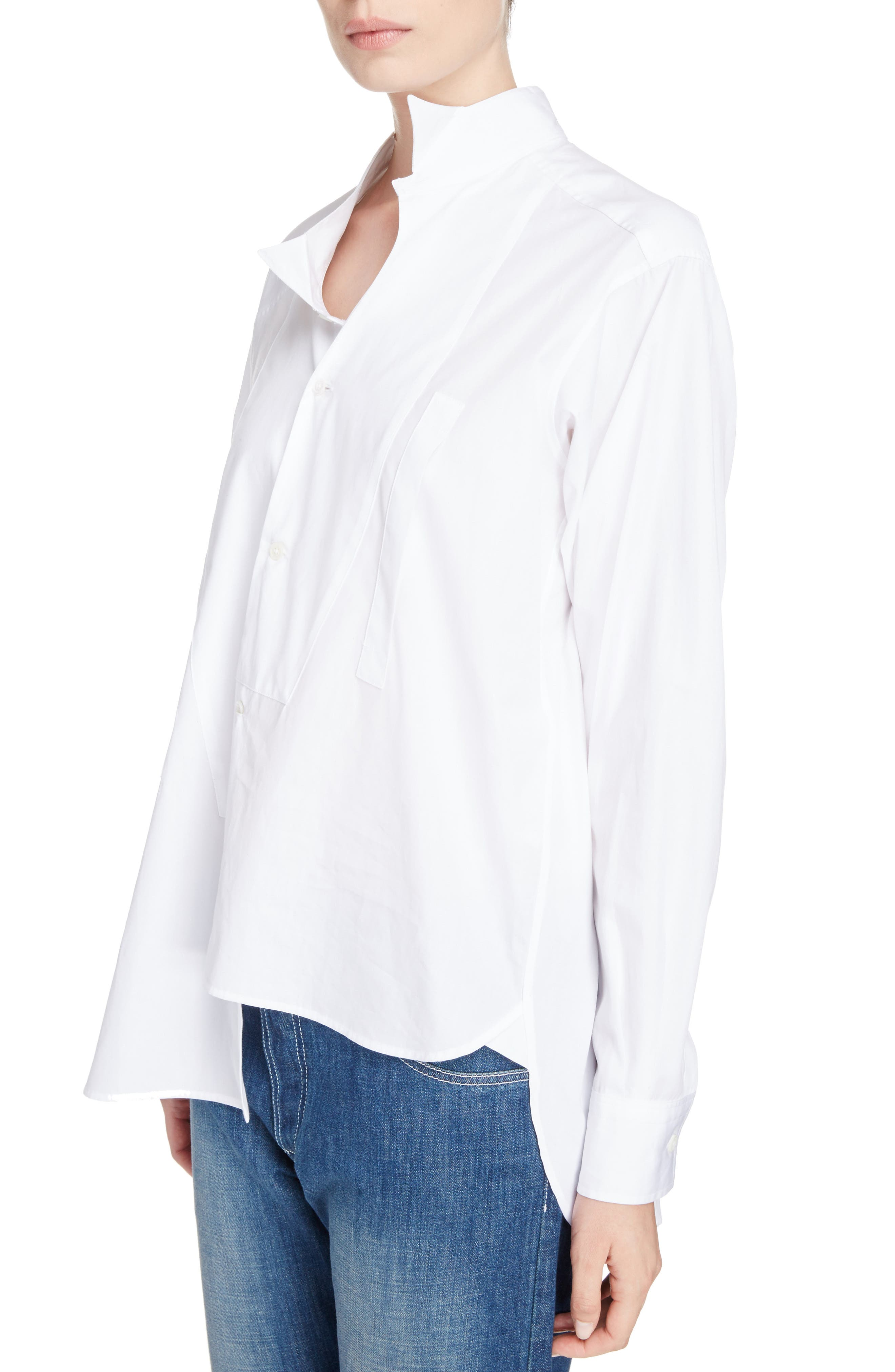 Cotton Poplin Patchwork Shirt,                             Alternate thumbnail 4, color,                             White
