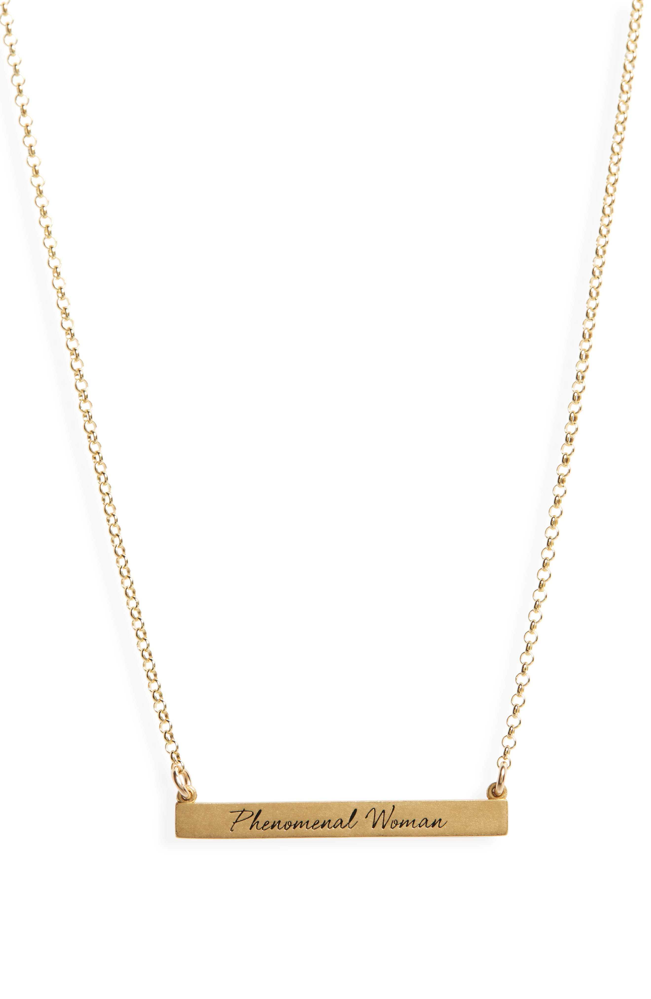 Legacy Collection - Phenomenal Women Bar Necklace,                             Alternate thumbnail 3, color,                             Gold