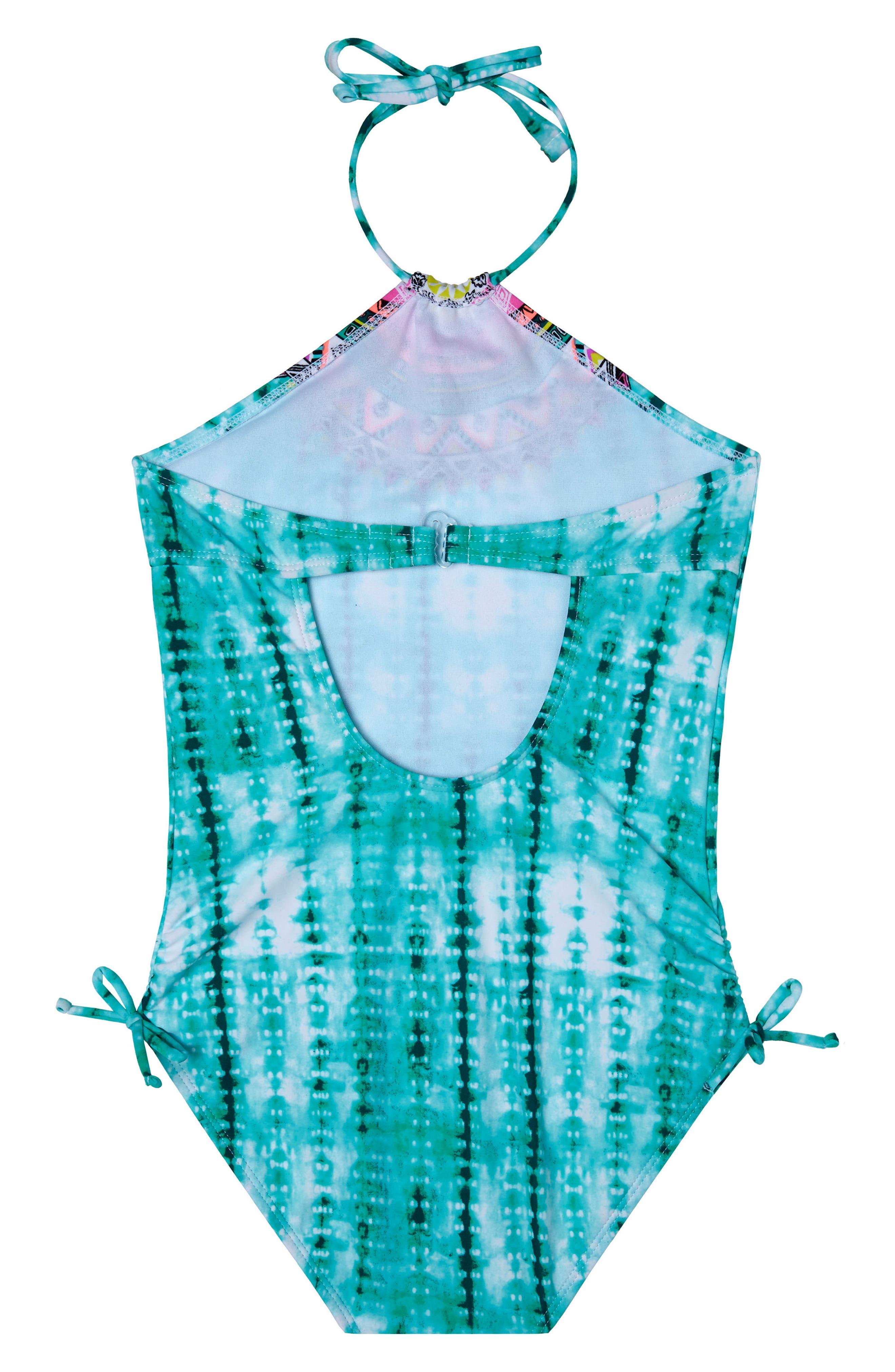 Desert Rose One-Piece Swimsuit,                             Alternate thumbnail 2, color,                             Green