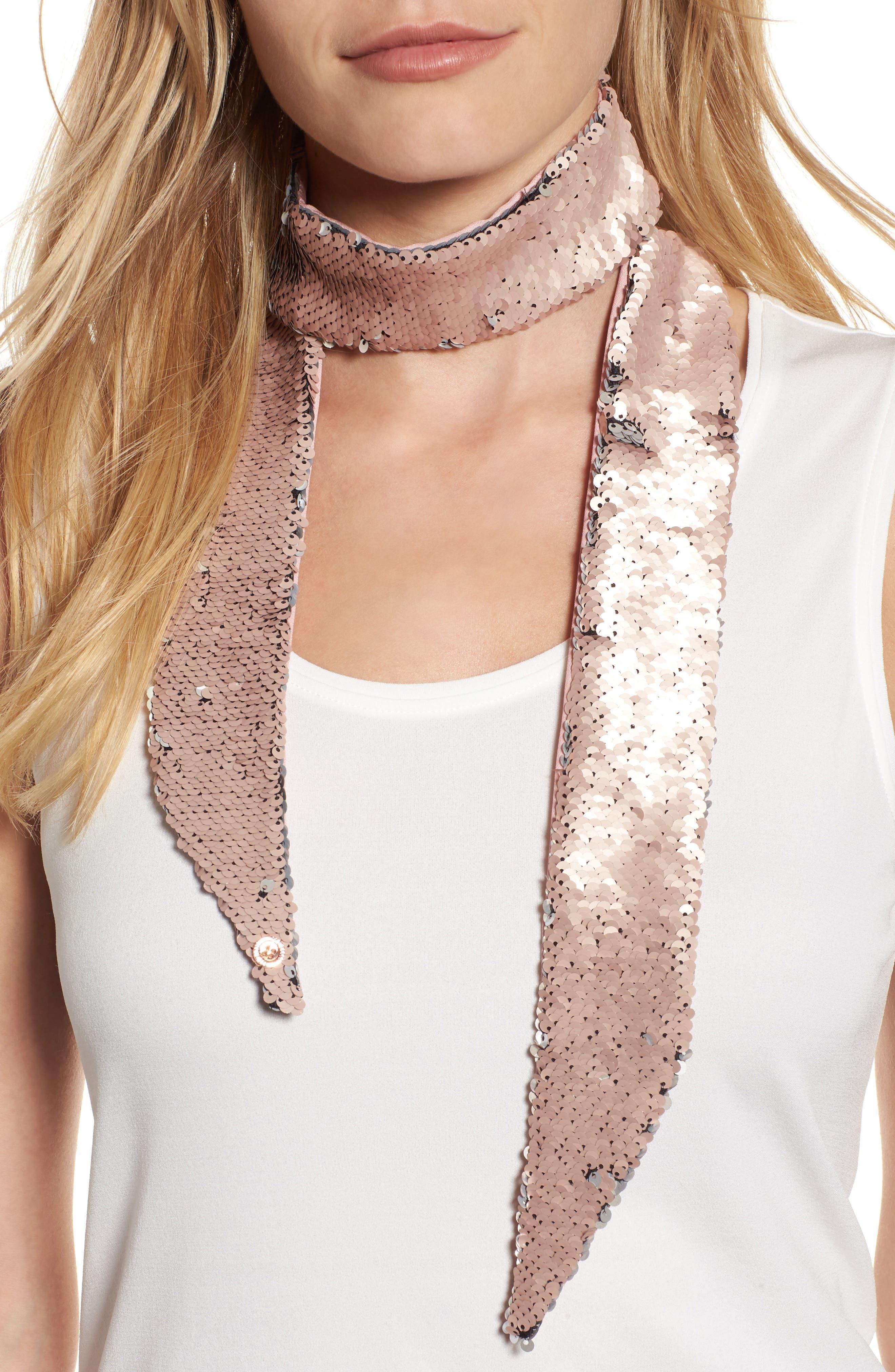 Main Image - Ted Baker London Sequin Velvet Skinny Scarf