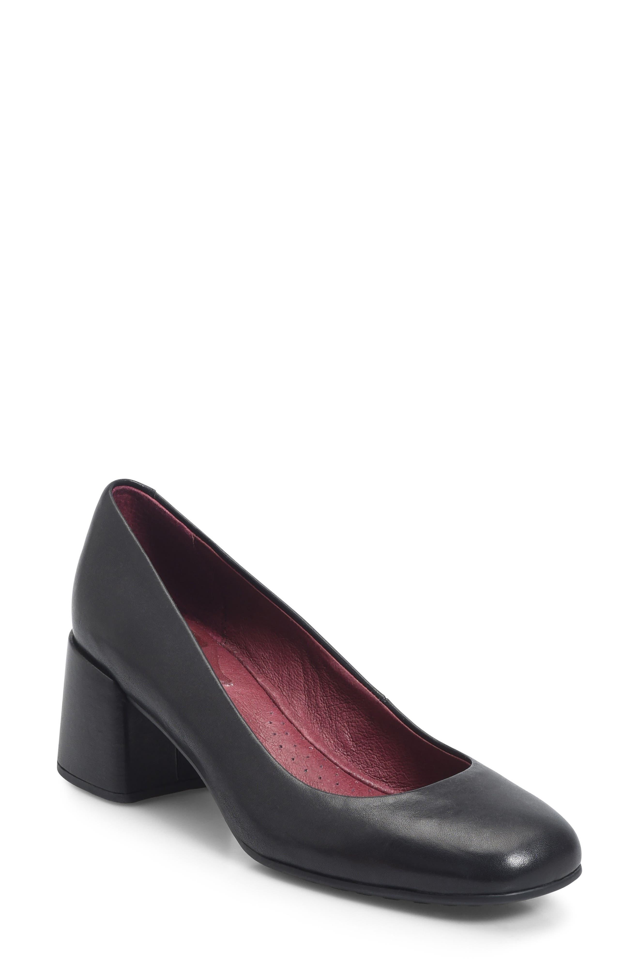 Magnolia Block Heel Pump,                             Main thumbnail 1, color,                             Black Leather