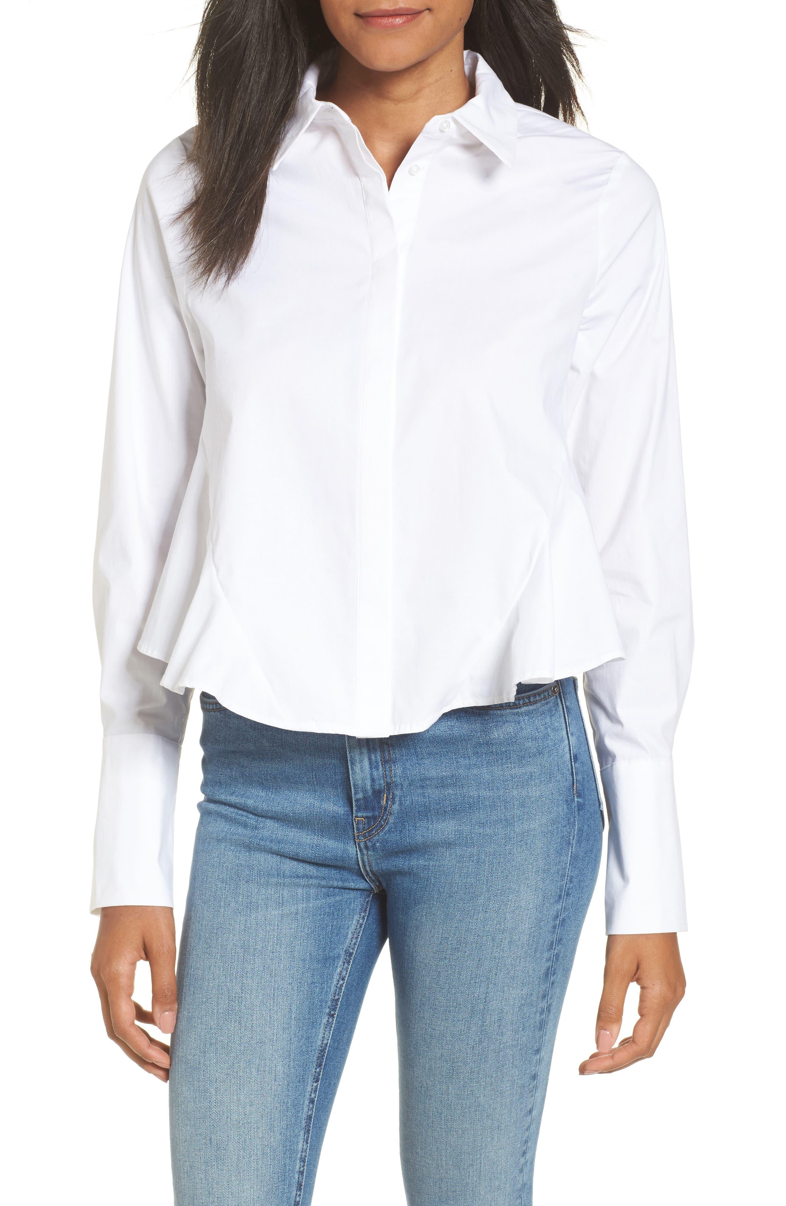 Asher Crop Shirt,                         Main,                         color, Blanc