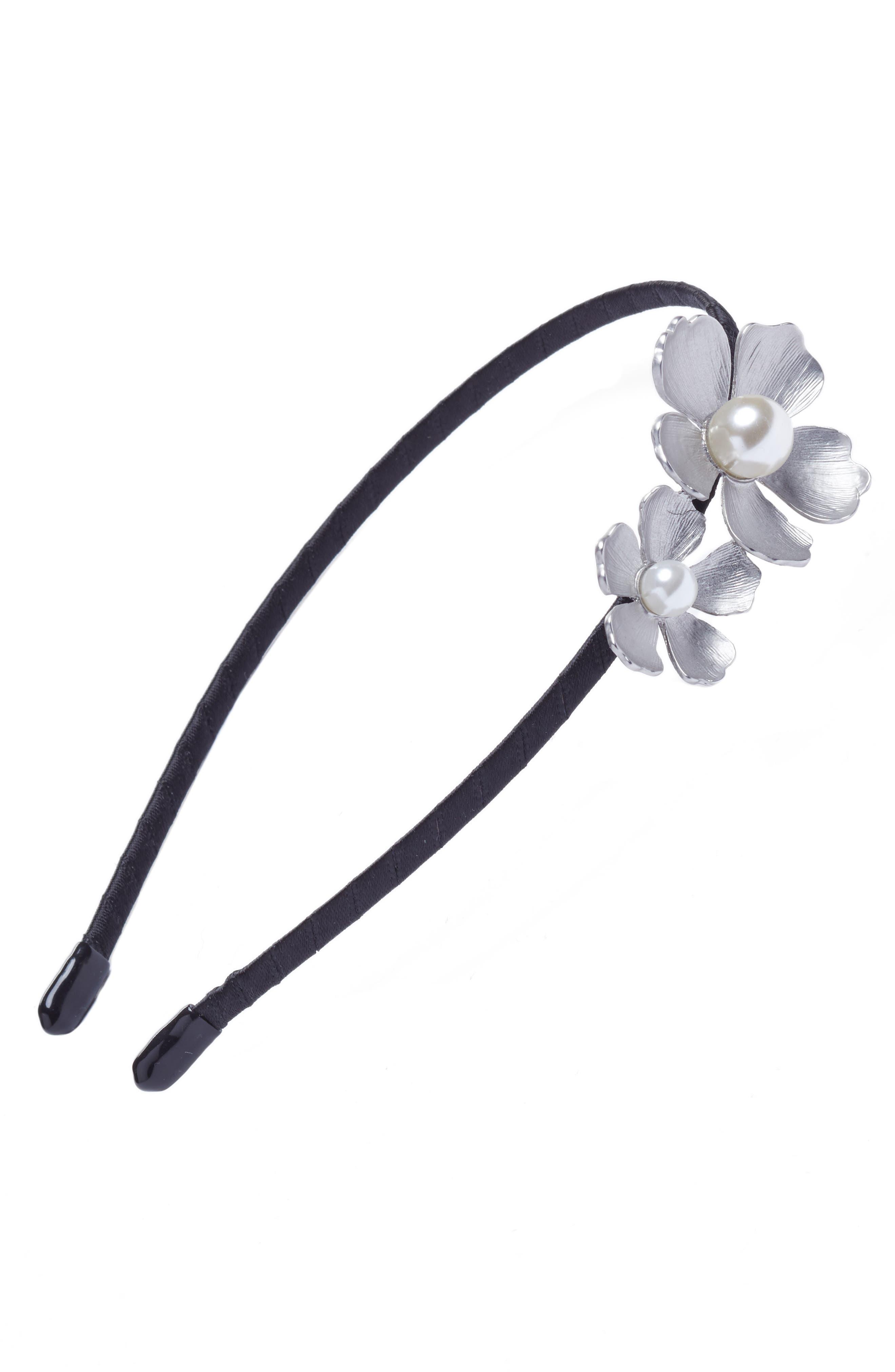 Double Flower Headband,                         Main,                         color, Silver/Black