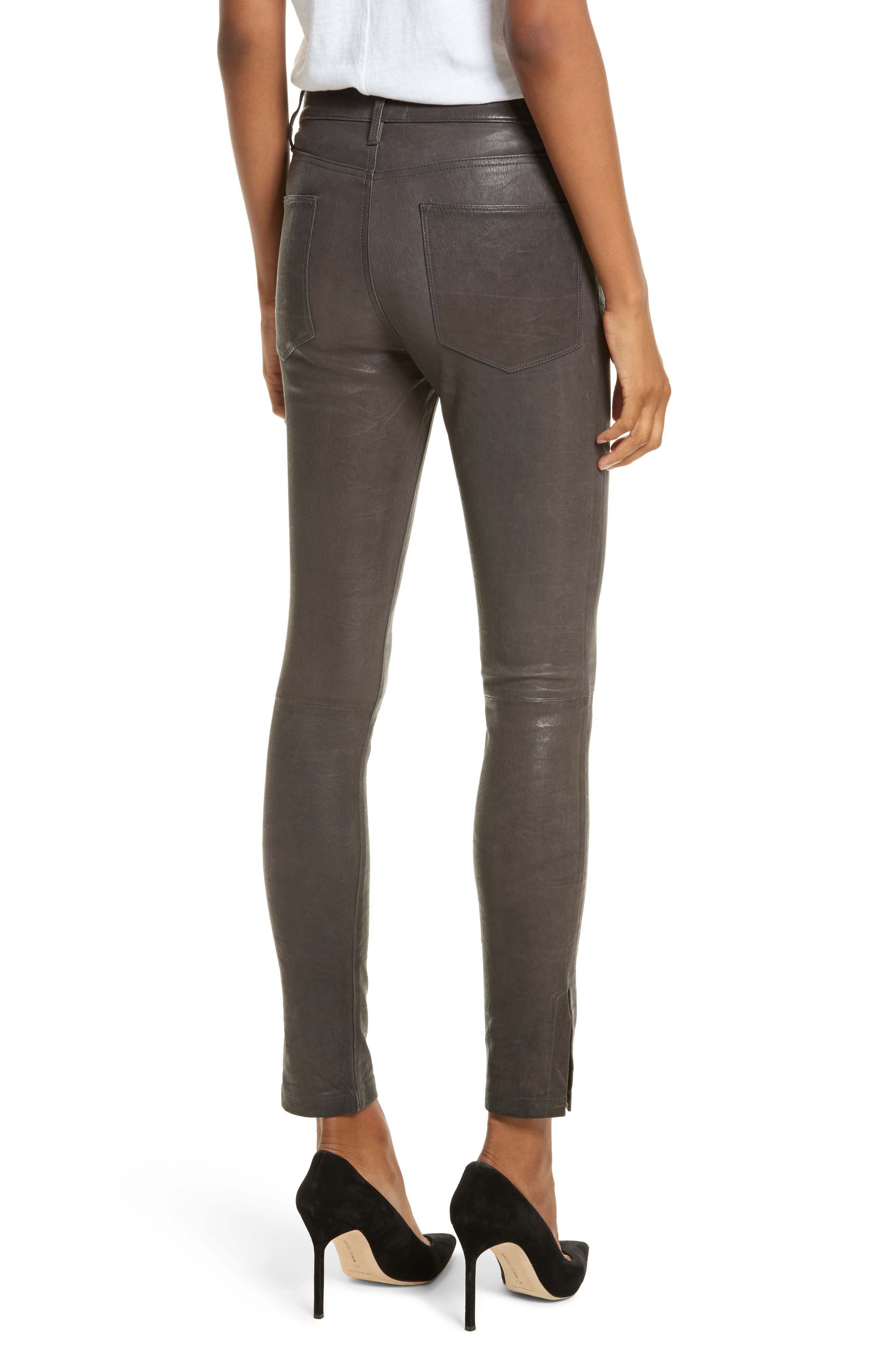 Le High Skinny Slit Leather Pants,                             Alternate thumbnail 2, color,                             Charcoal