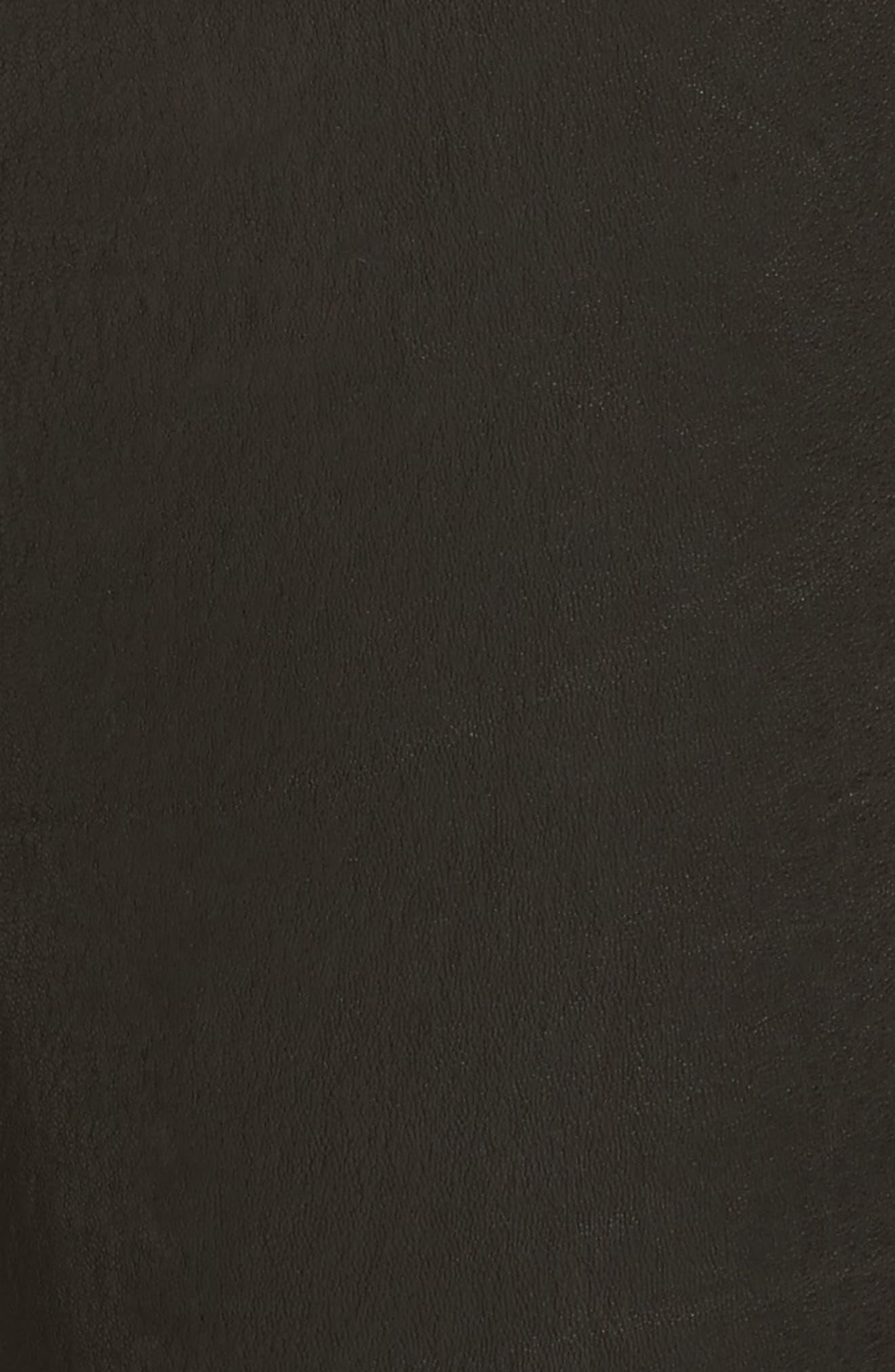 Le High Skinny Slit Leather Pants,                             Alternate thumbnail 5, color,                             Washed Black