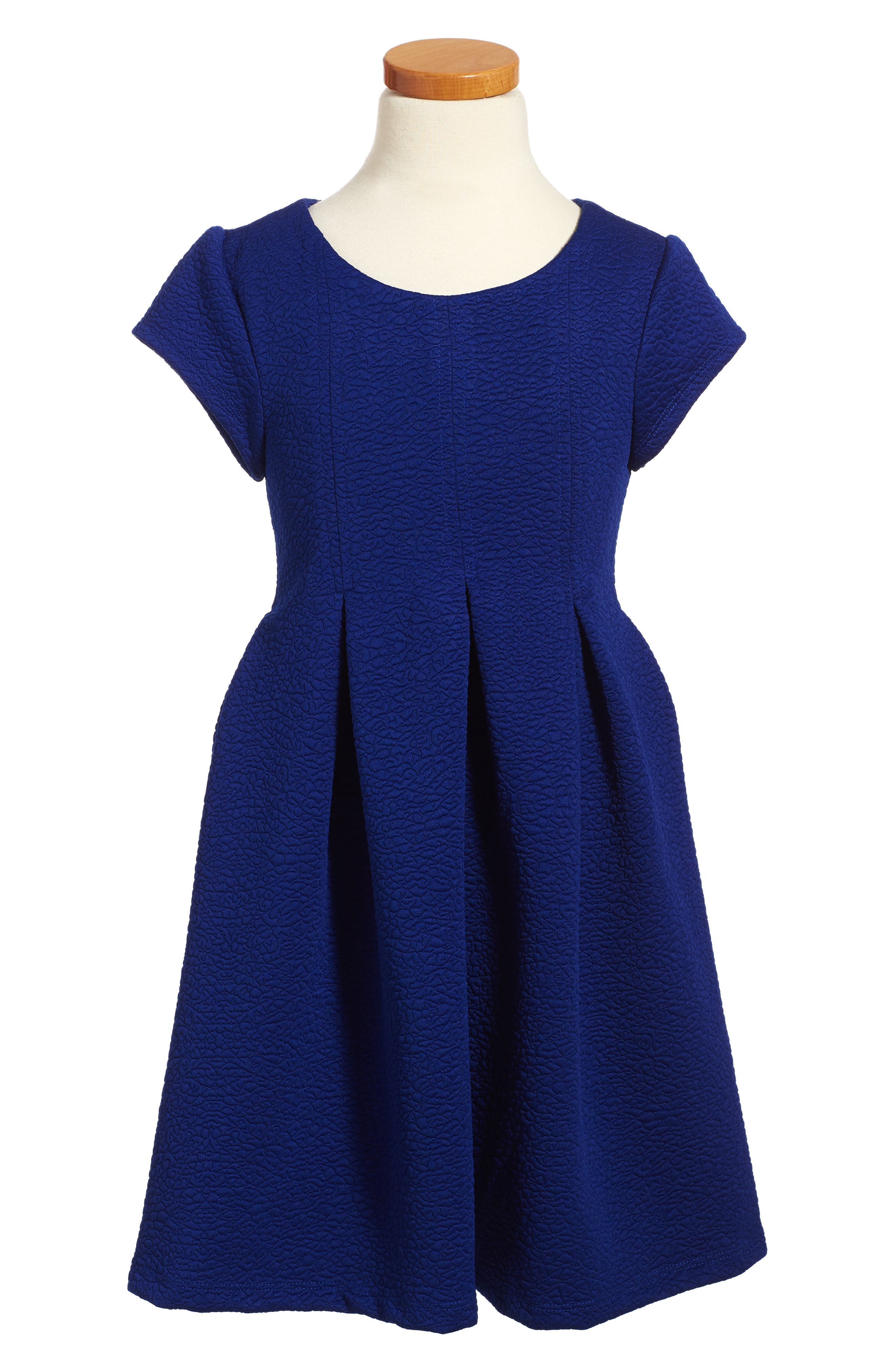 Pleated Knit Dress,                         Main,                         color, Royal