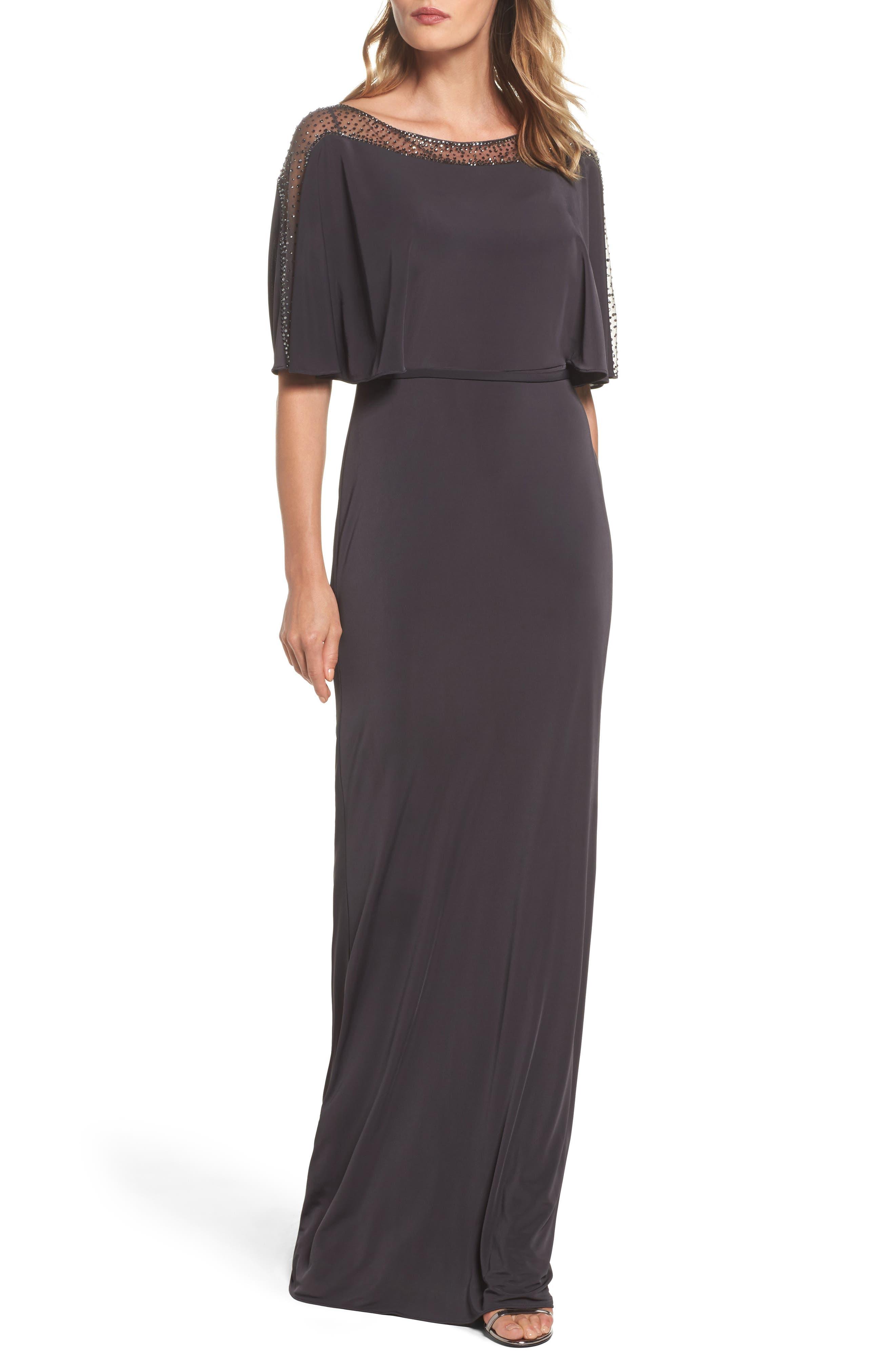 La Femme Cape Illusion Crepe Gown