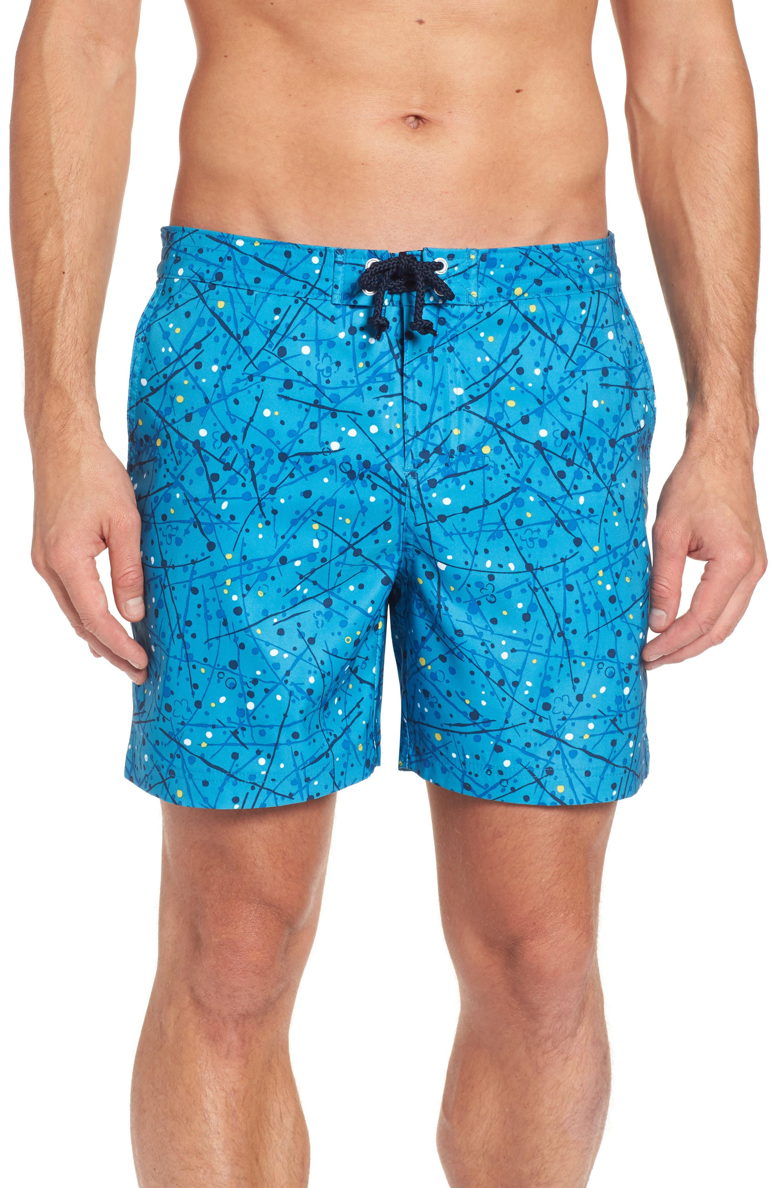 Splatter Paint Swim Trunks,                         Main,                         color, Snorkel Blue