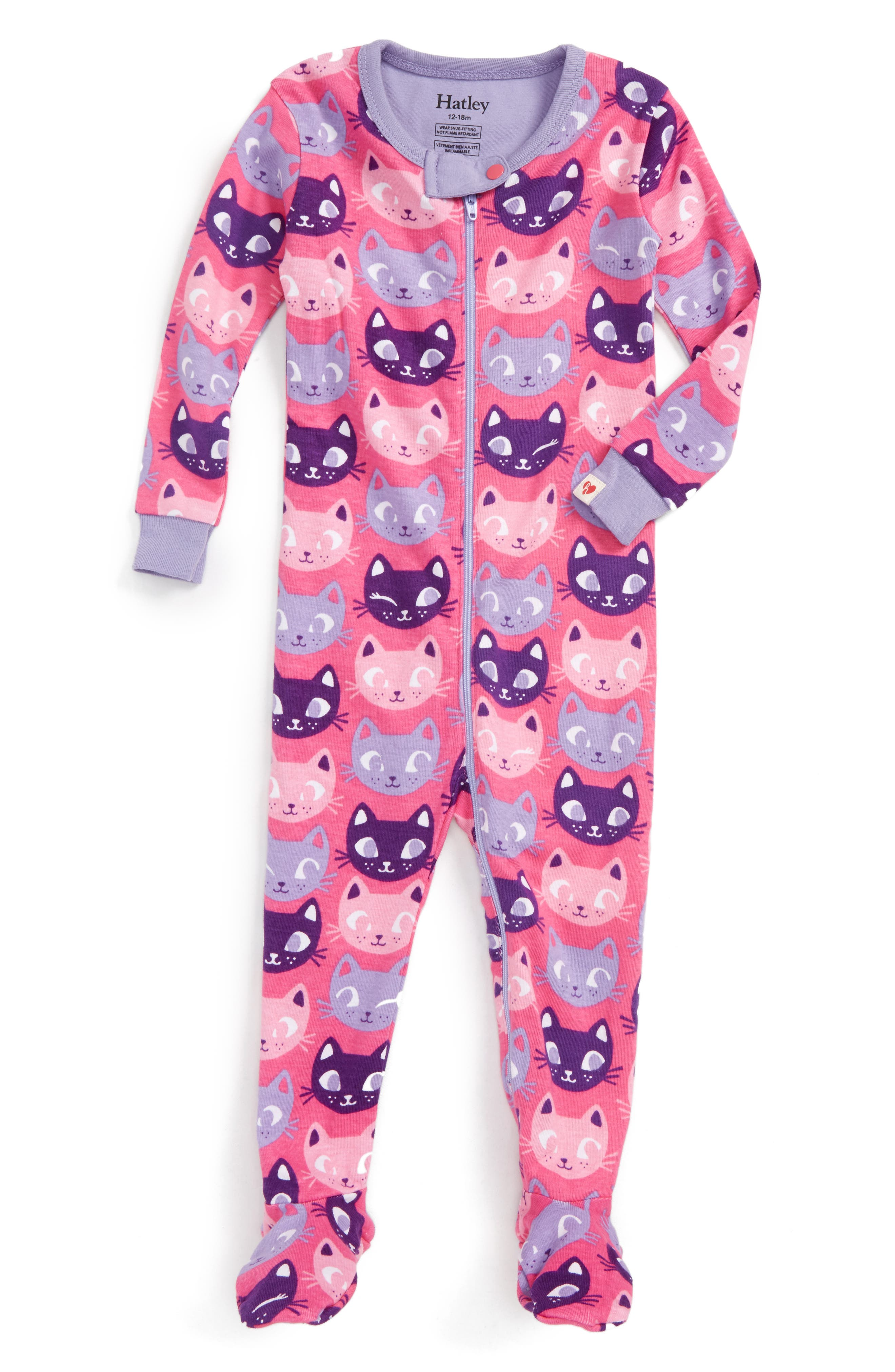 Organic Cotton Fitted One-Piece Pajamas,                             Main thumbnail 1, color,                             Silly Kitties