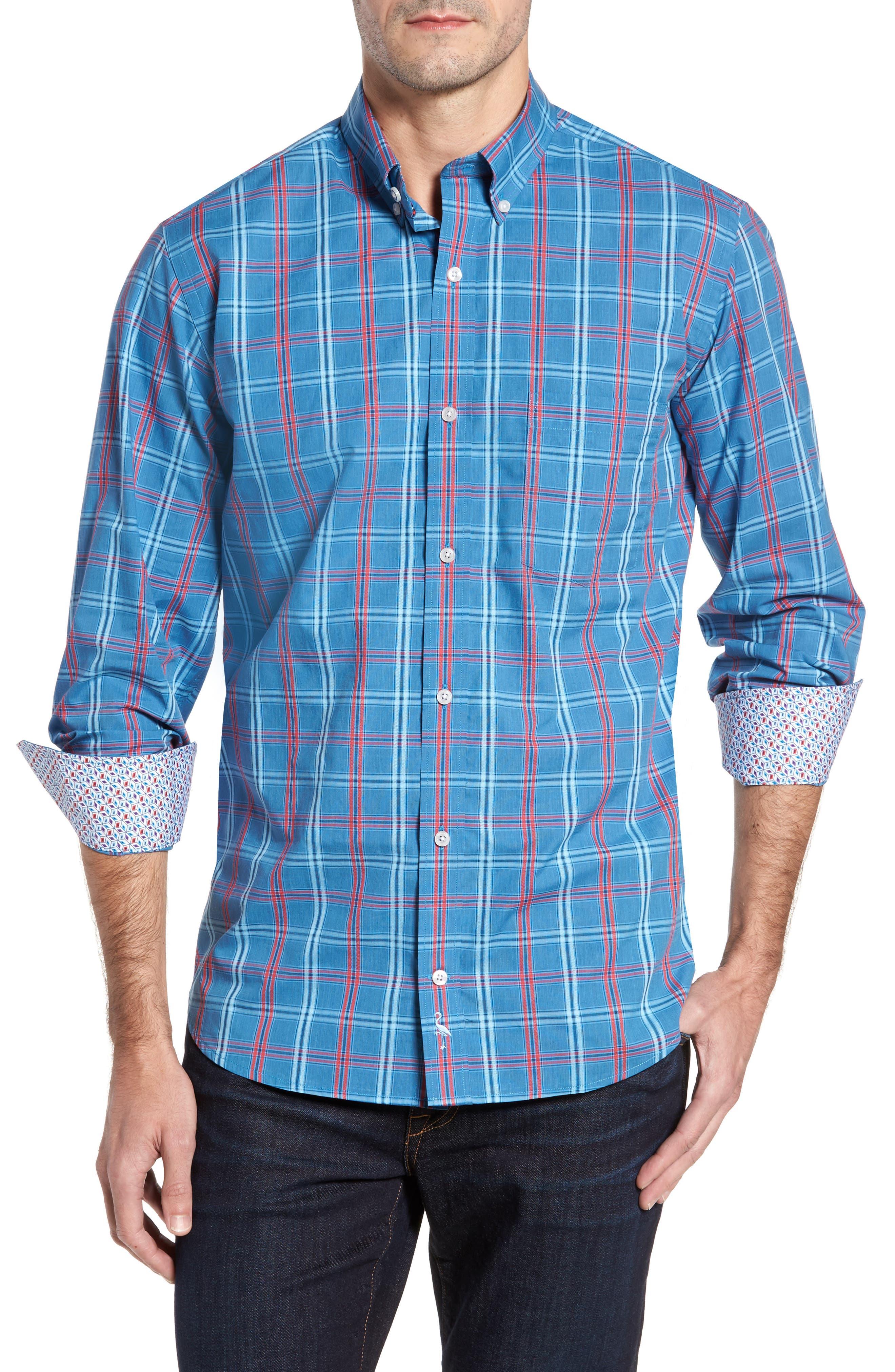 Ashland Windowpane Check Sport Shirt,                         Main,                         color, Blue