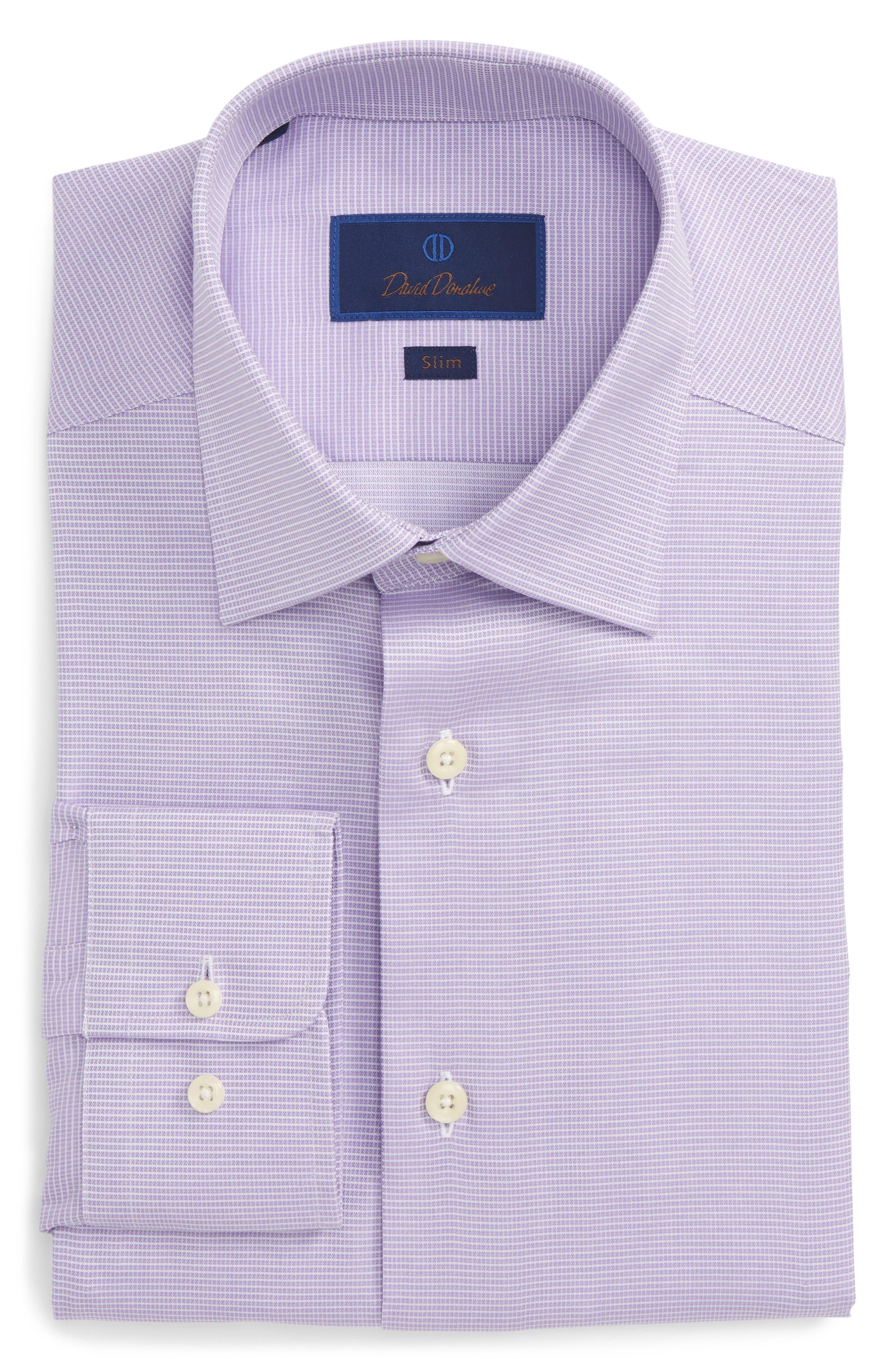 Slim Fit Check Dress Shirt,                             Main thumbnail 1, color,                             Lilac