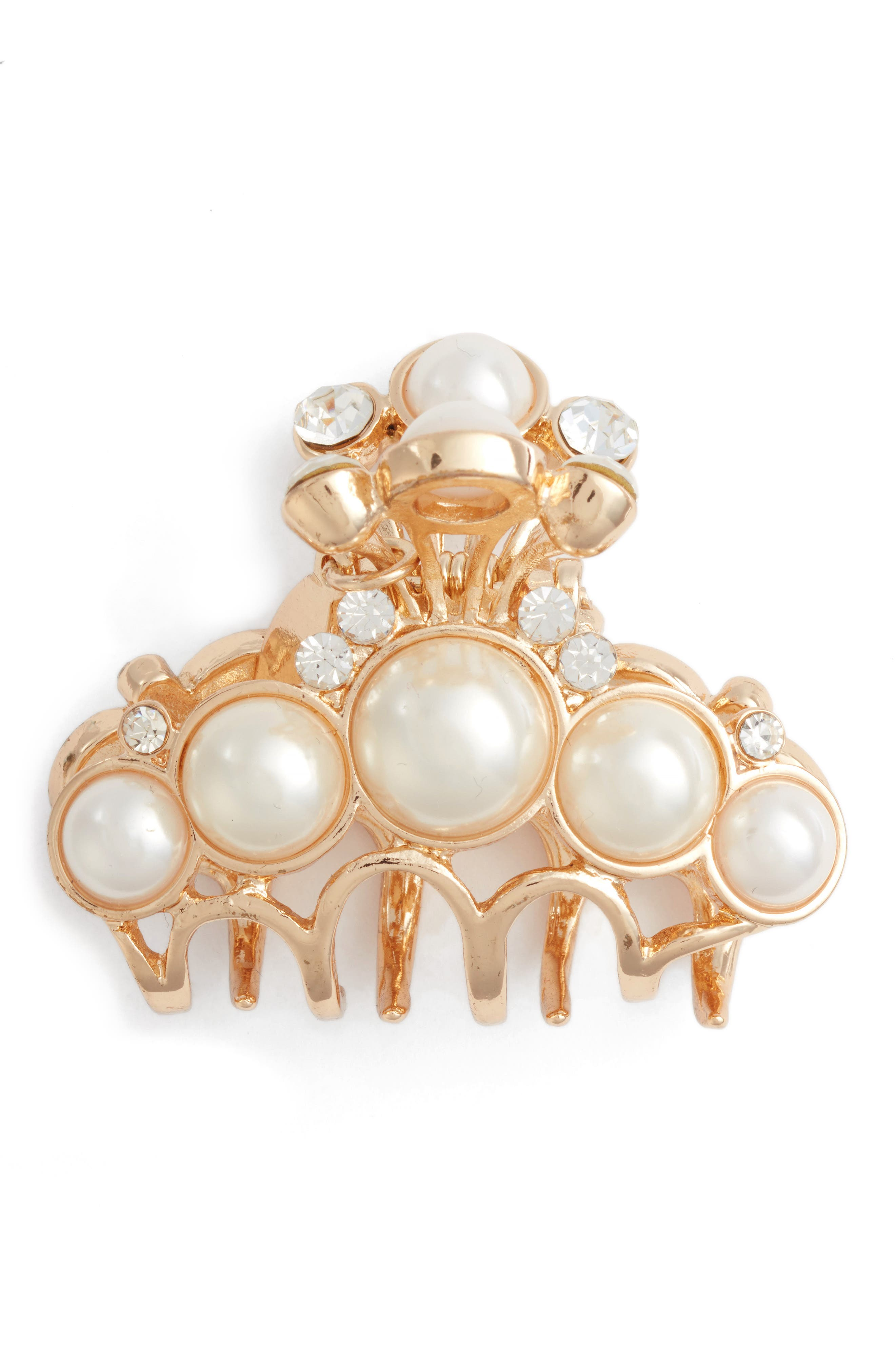 Imitation Pearl & Crystal Embellished Jaw Clip,                             Alternate thumbnail 2, color,                             Gold/Pearls
