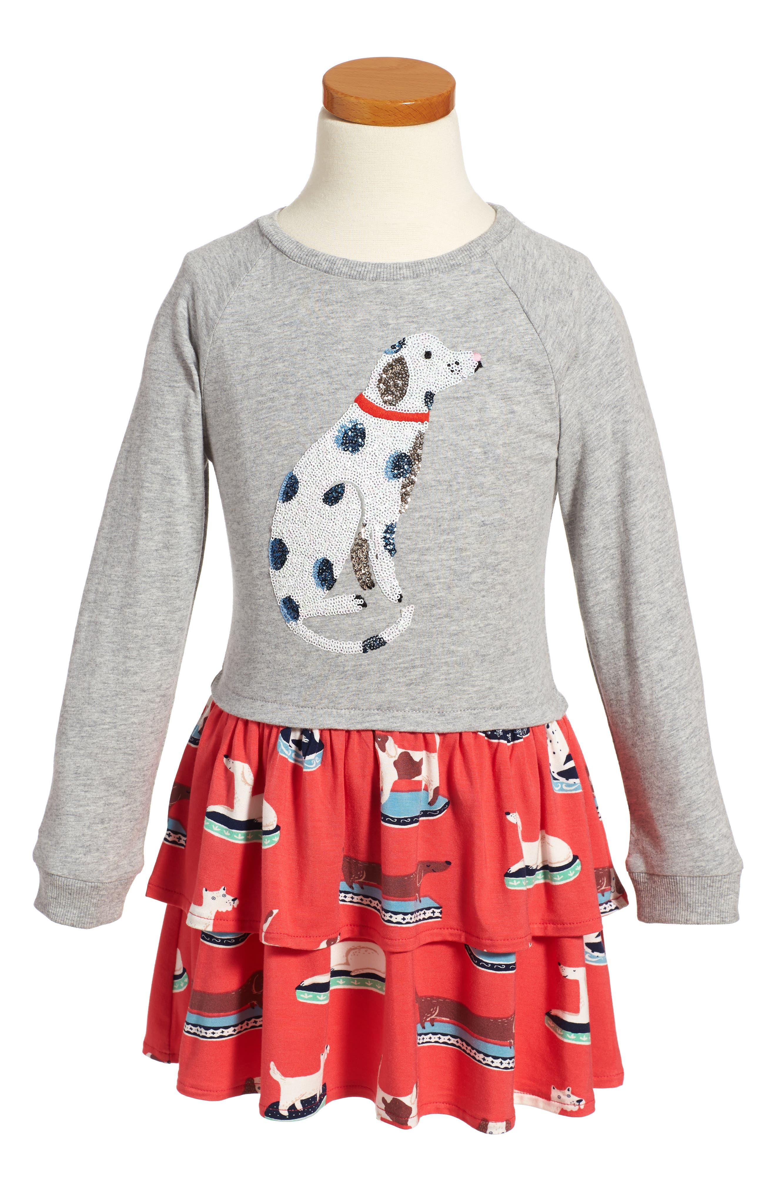Main Image - Mini Boden Twirly Sequin Dalmatian Dress (Toddler Girls, Little Girls & Big Girls)
