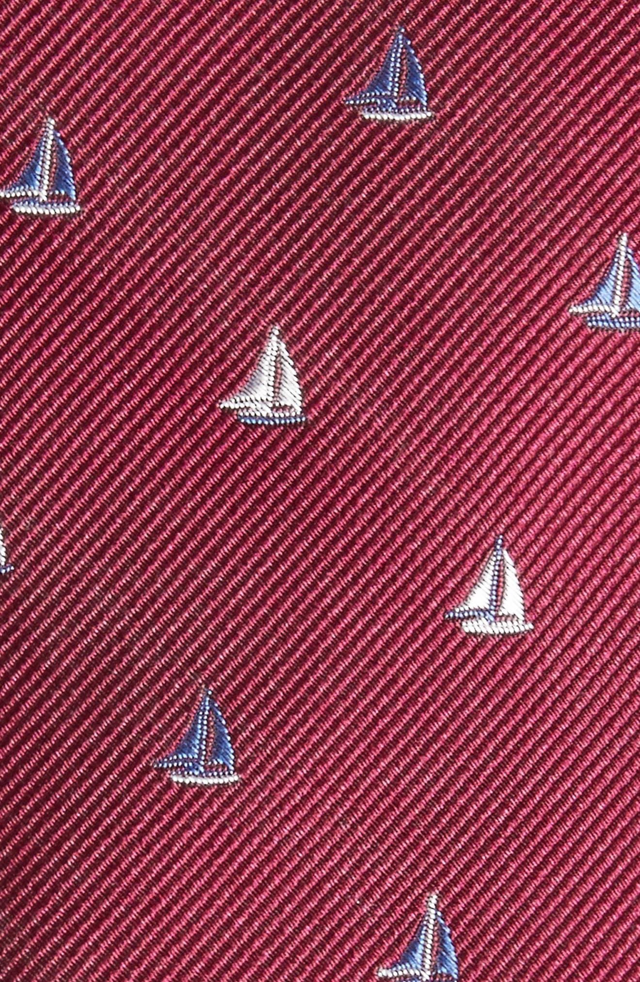 Sailboat Silk Skinny Tie,                             Alternate thumbnail 2, color,                             Berry