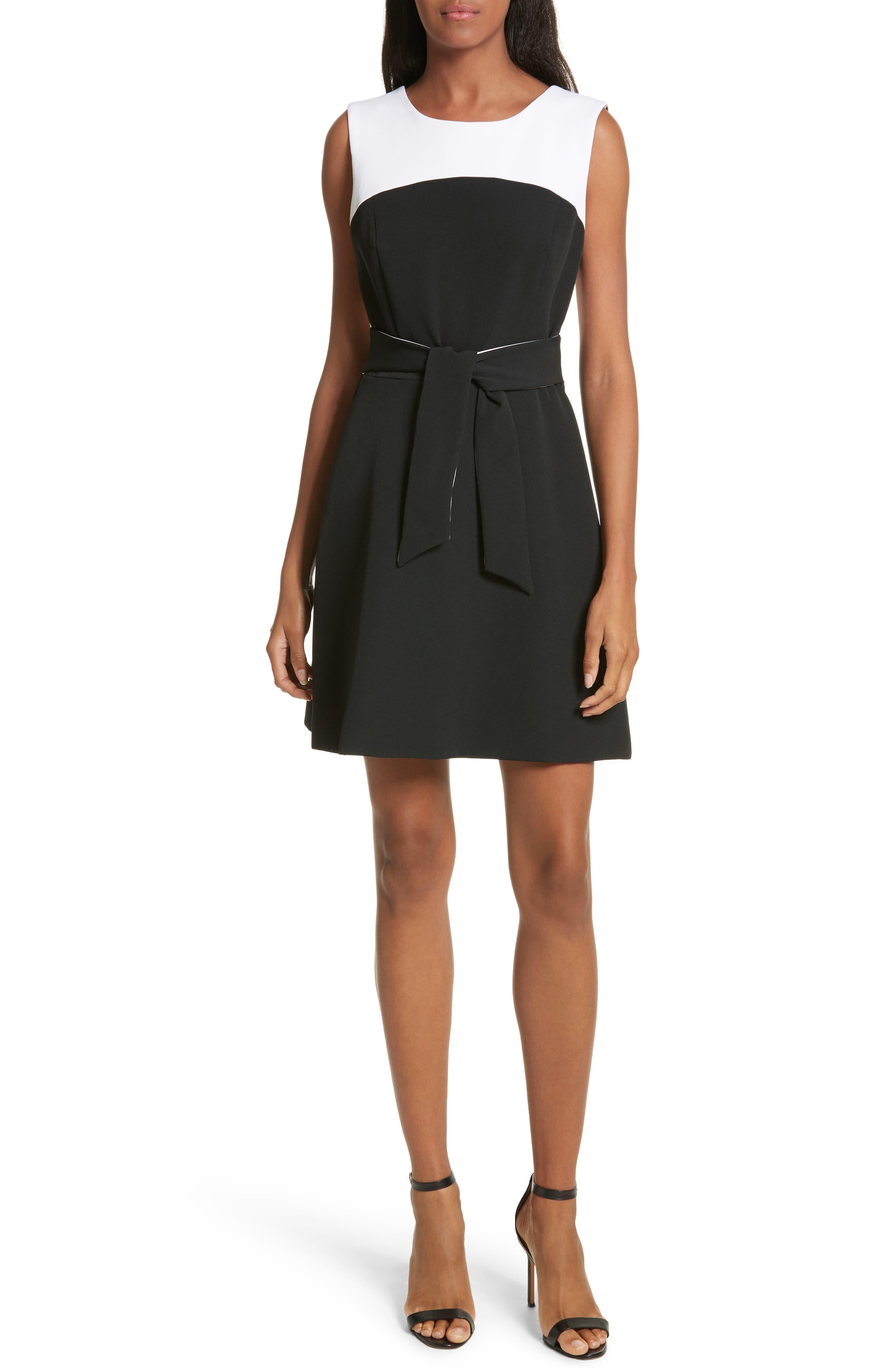 Jenny Stretch Crepe Fit & Flare Dress,                             Main thumbnail 1, color,                             White/ Black