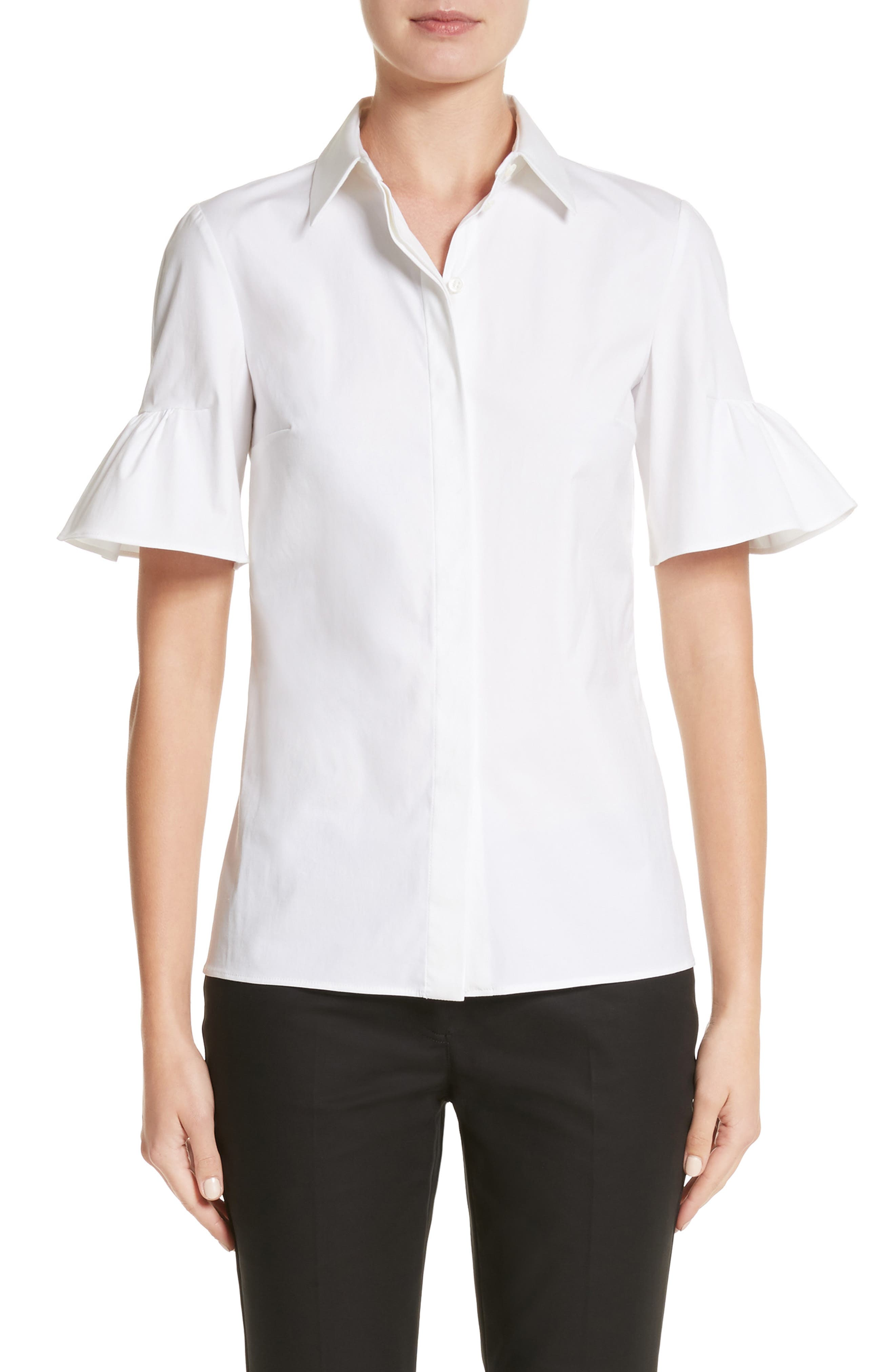 Bell Sleeve Shirt,                         Main,                         color, Optic White