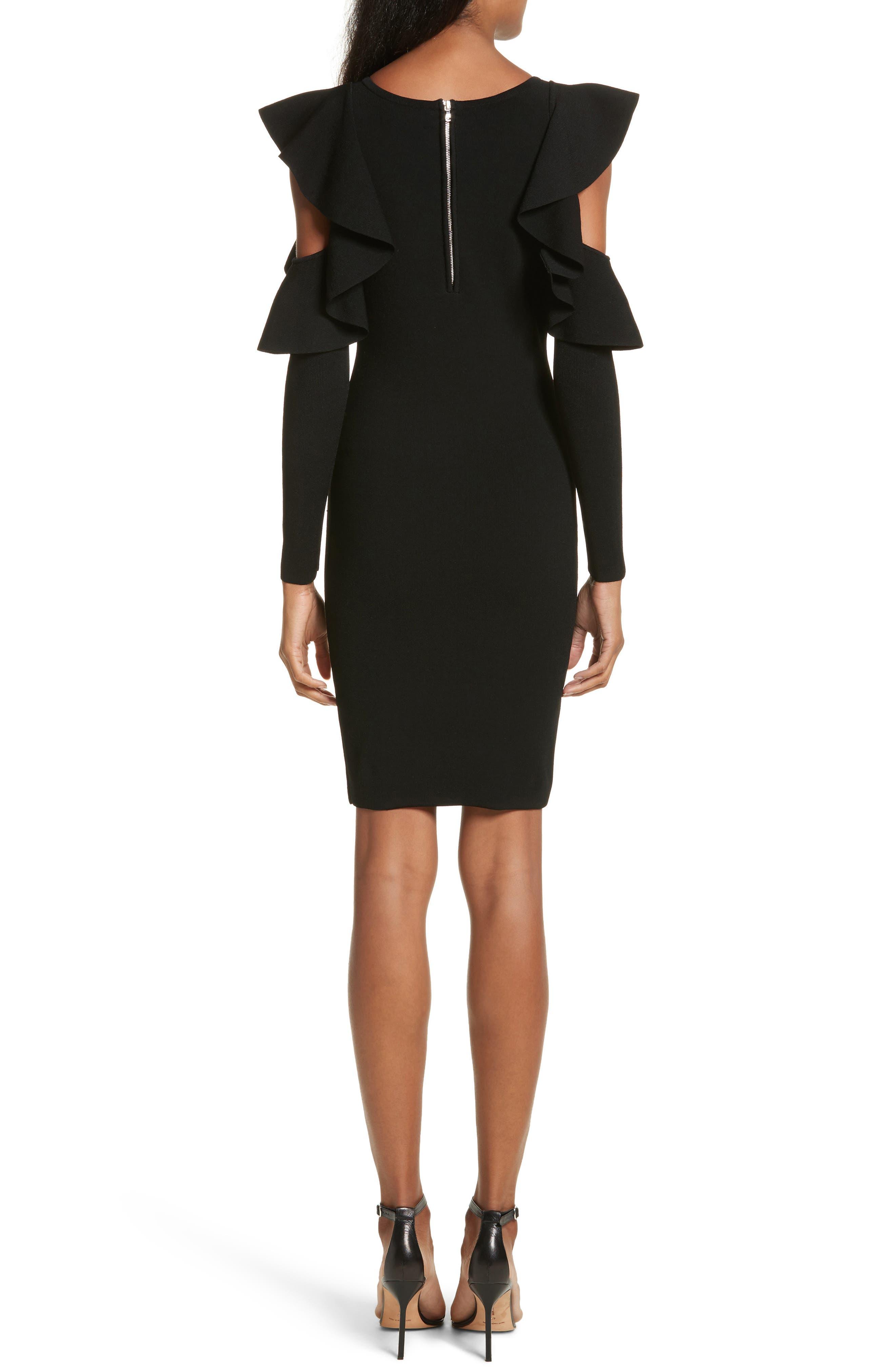 Cold Shoulder Flounce Sheath Dress,                             Alternate thumbnail 2, color,                             Black