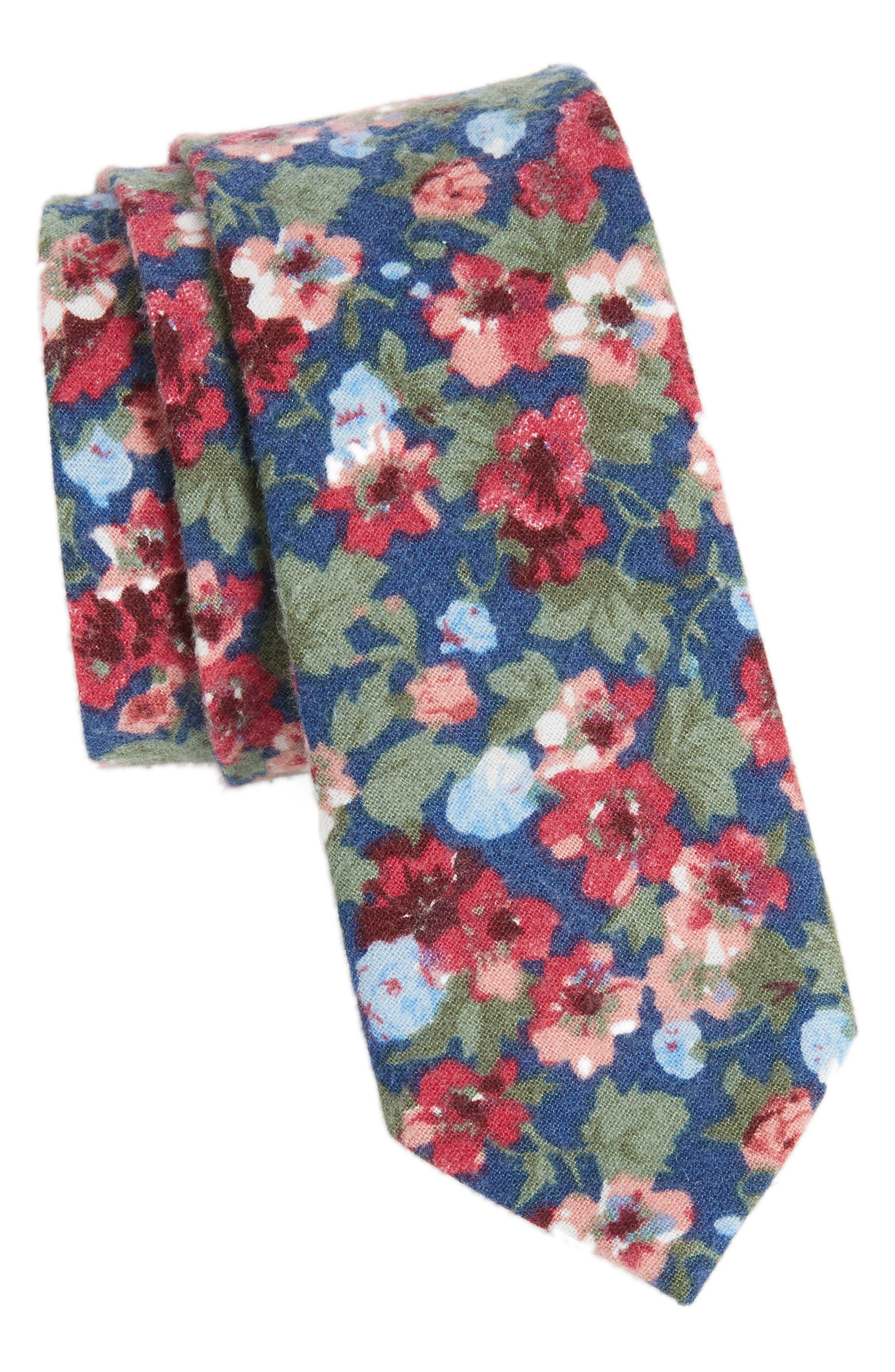 Garden Floral Cotton Tie,                             Main thumbnail 1, color,                             Blue