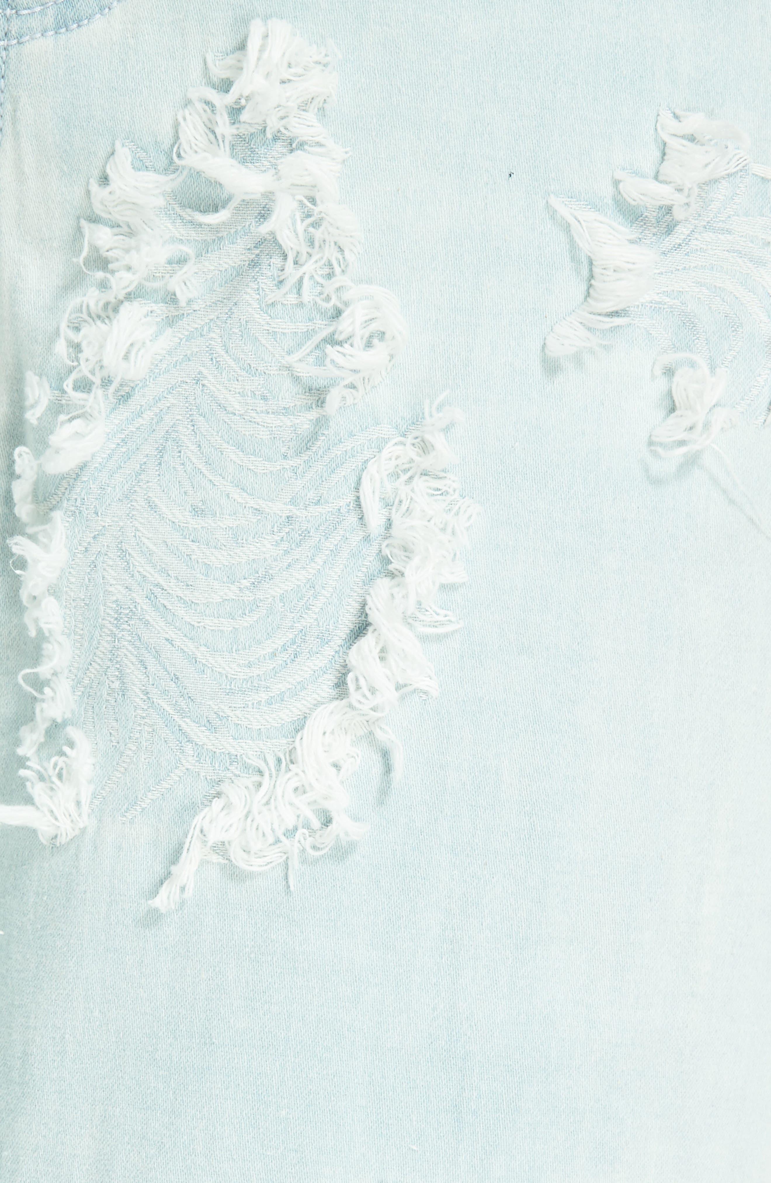 Feather Detail Wide Leg Jeans,                             Alternate thumbnail 5, color,                             Misty Blue