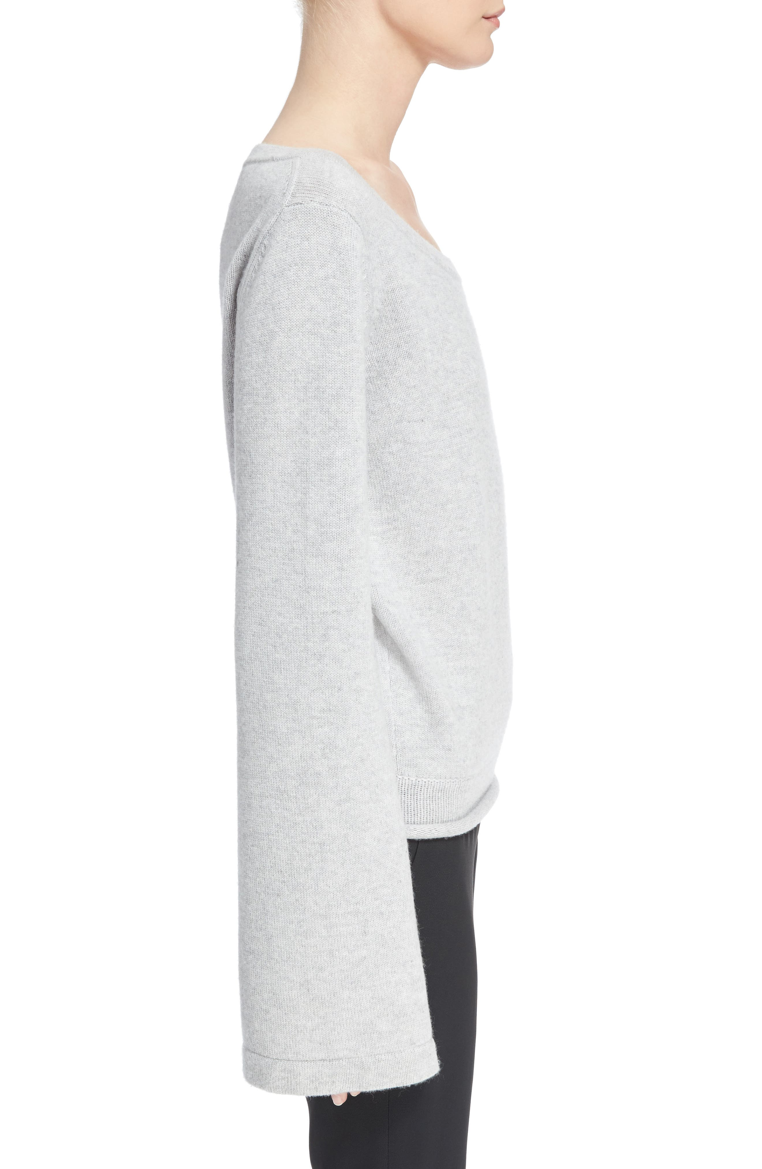 Iconic Cashmere Sweater,                             Alternate thumbnail 3, color,                             Cozy Grey