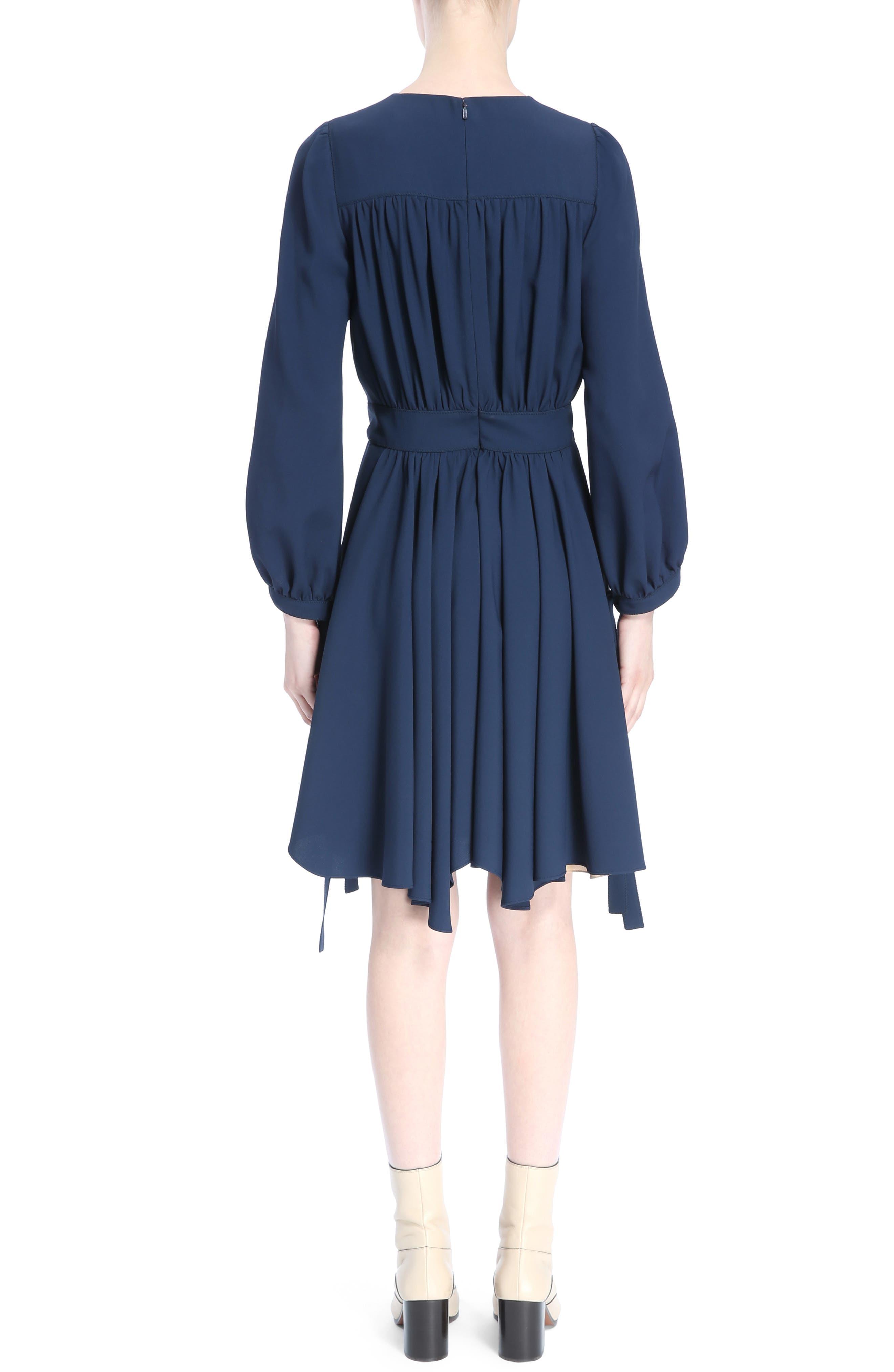 Pleated Tie Cuff Cady Dress,                             Alternate thumbnail 2, color,                             Dark Denim