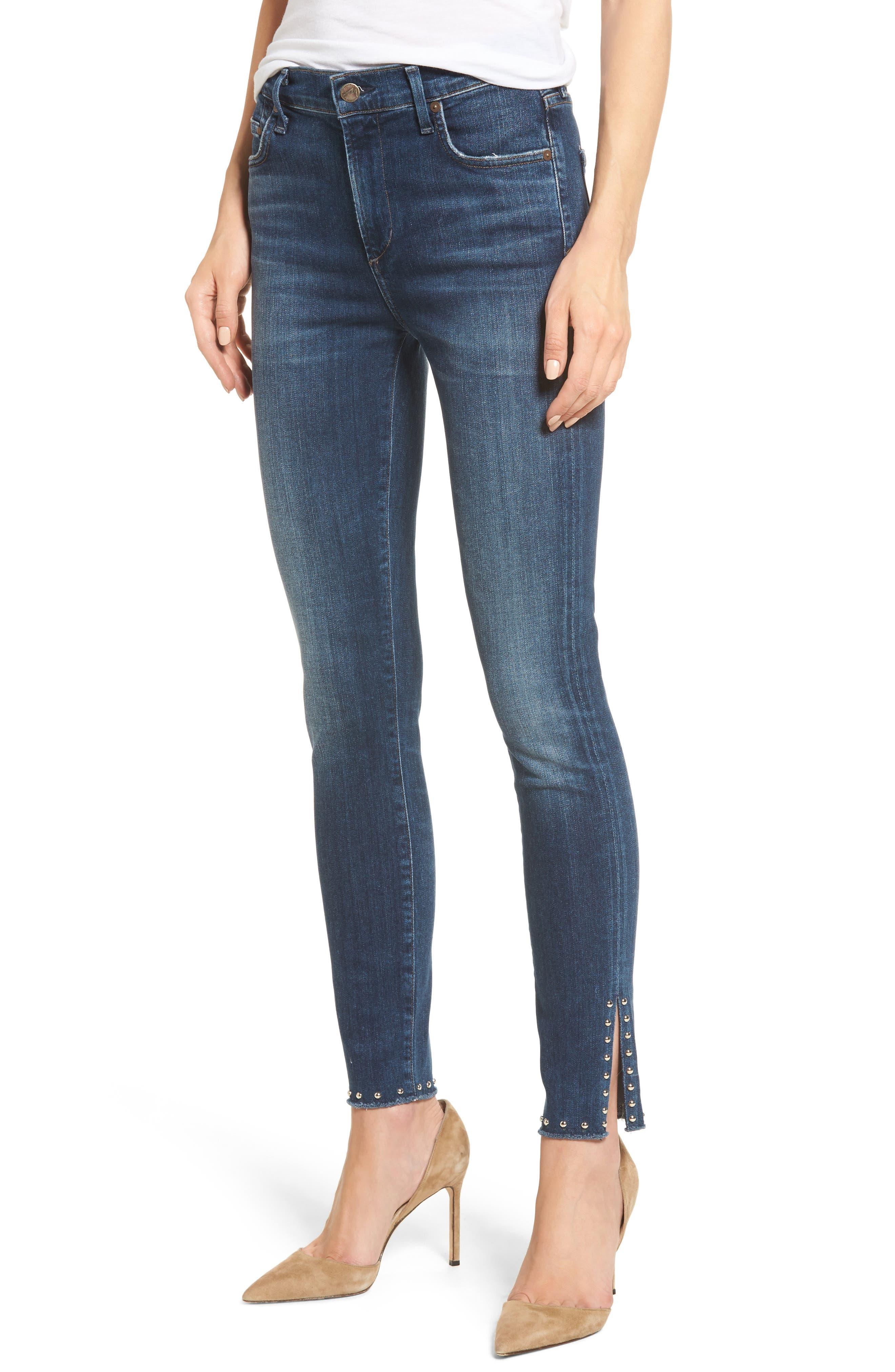 Rocket Split Hem Ankle Skinny Jeans,                         Main,                         color, Studded Ventana