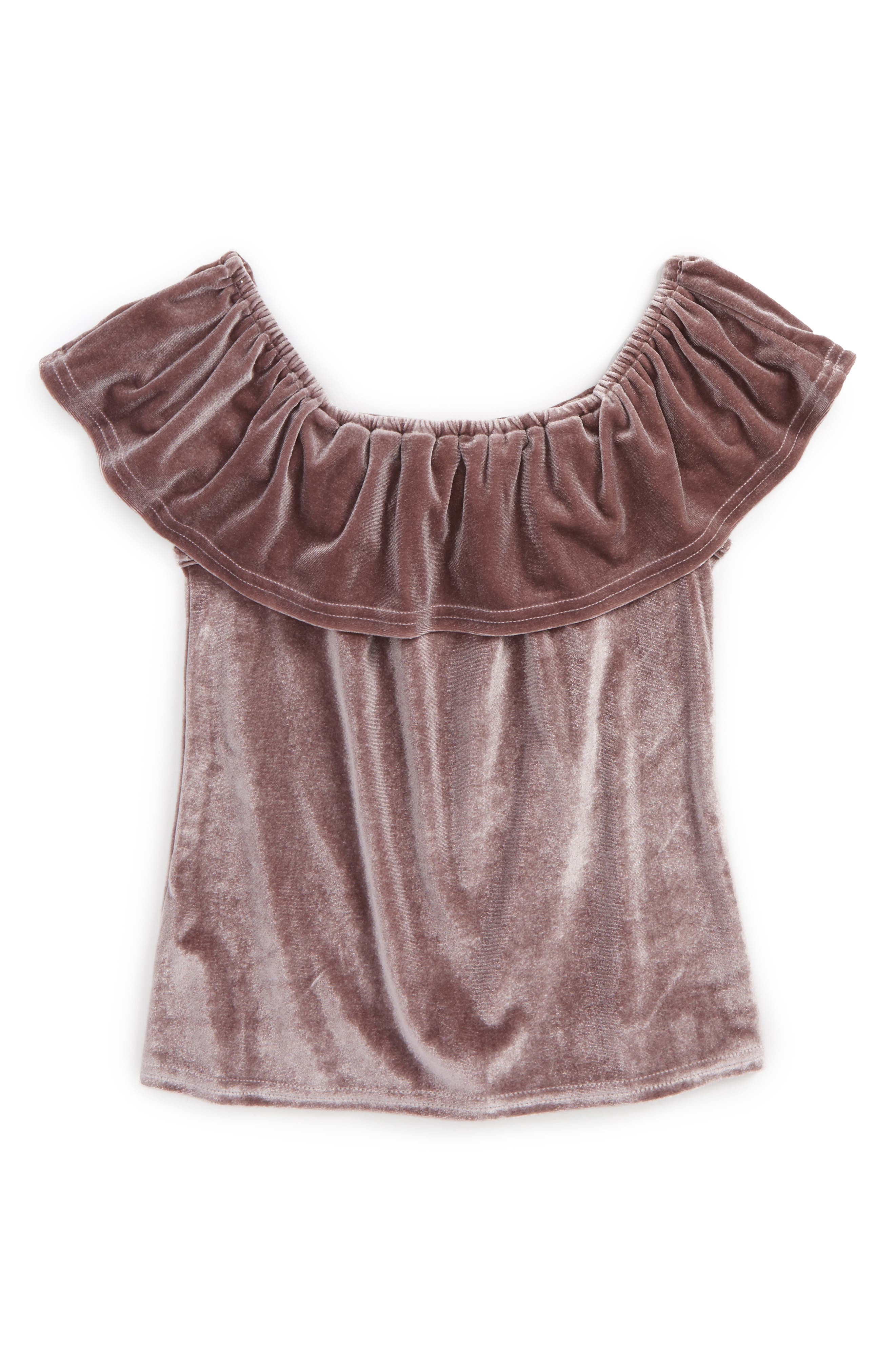 Off the Shoulder Top,                         Main,                         color, Lavender
