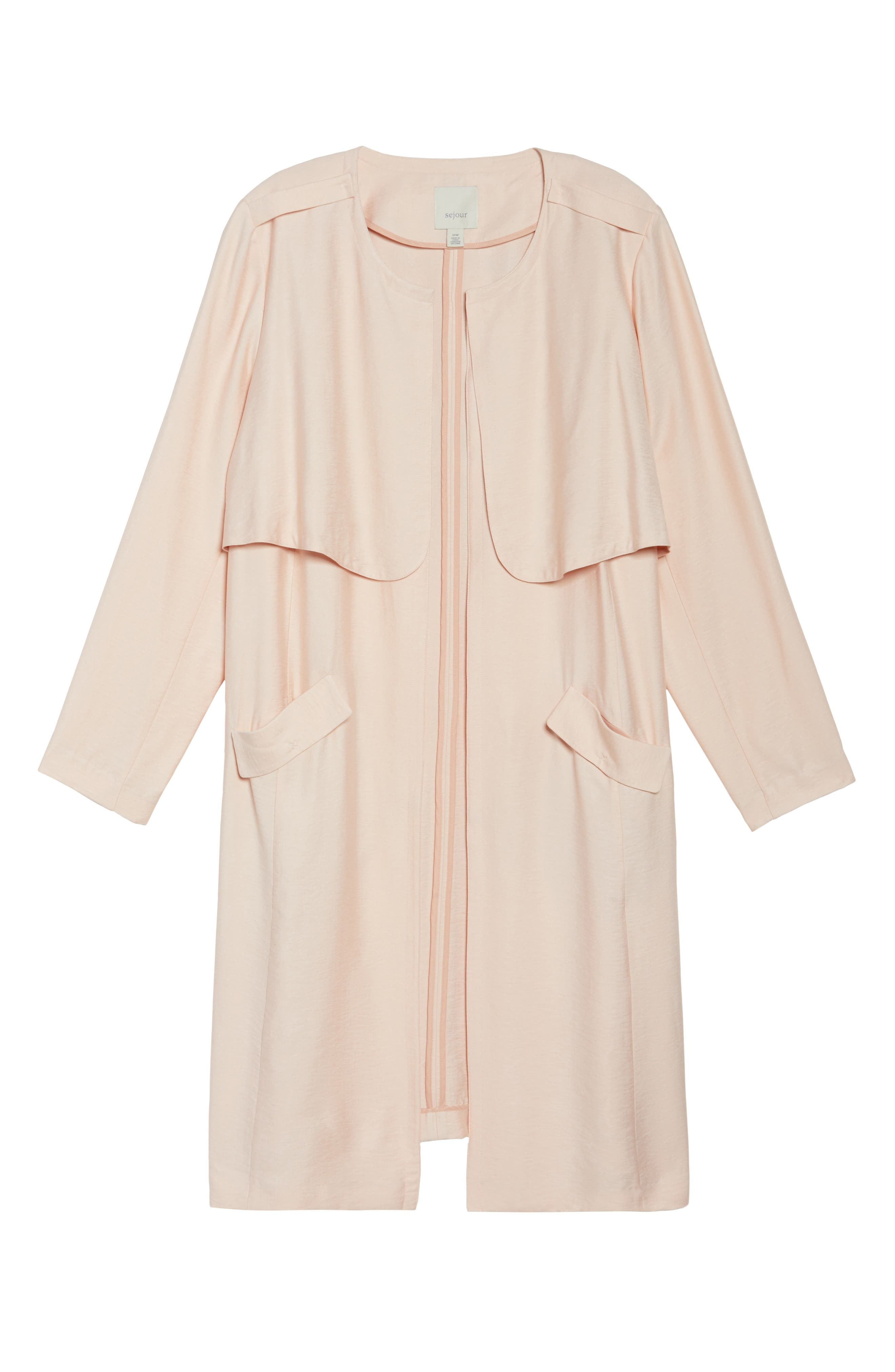 Long Open Front Trench Coat,                             Alternate thumbnail 6, color,                             Pink Wood