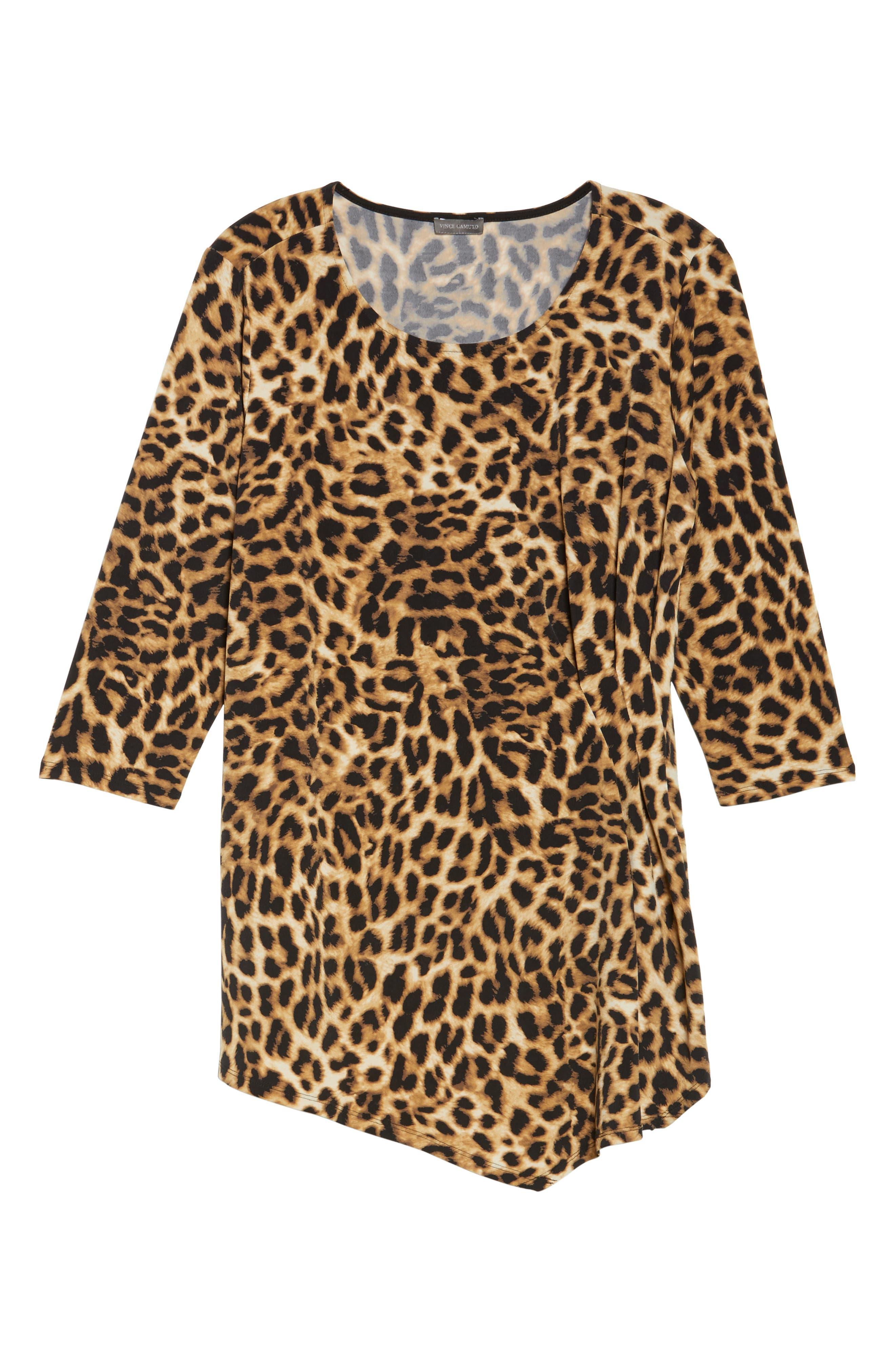 Alternate Image 6  - Vince Camuto Side Pleat Leopard Print Top (Plus Size)