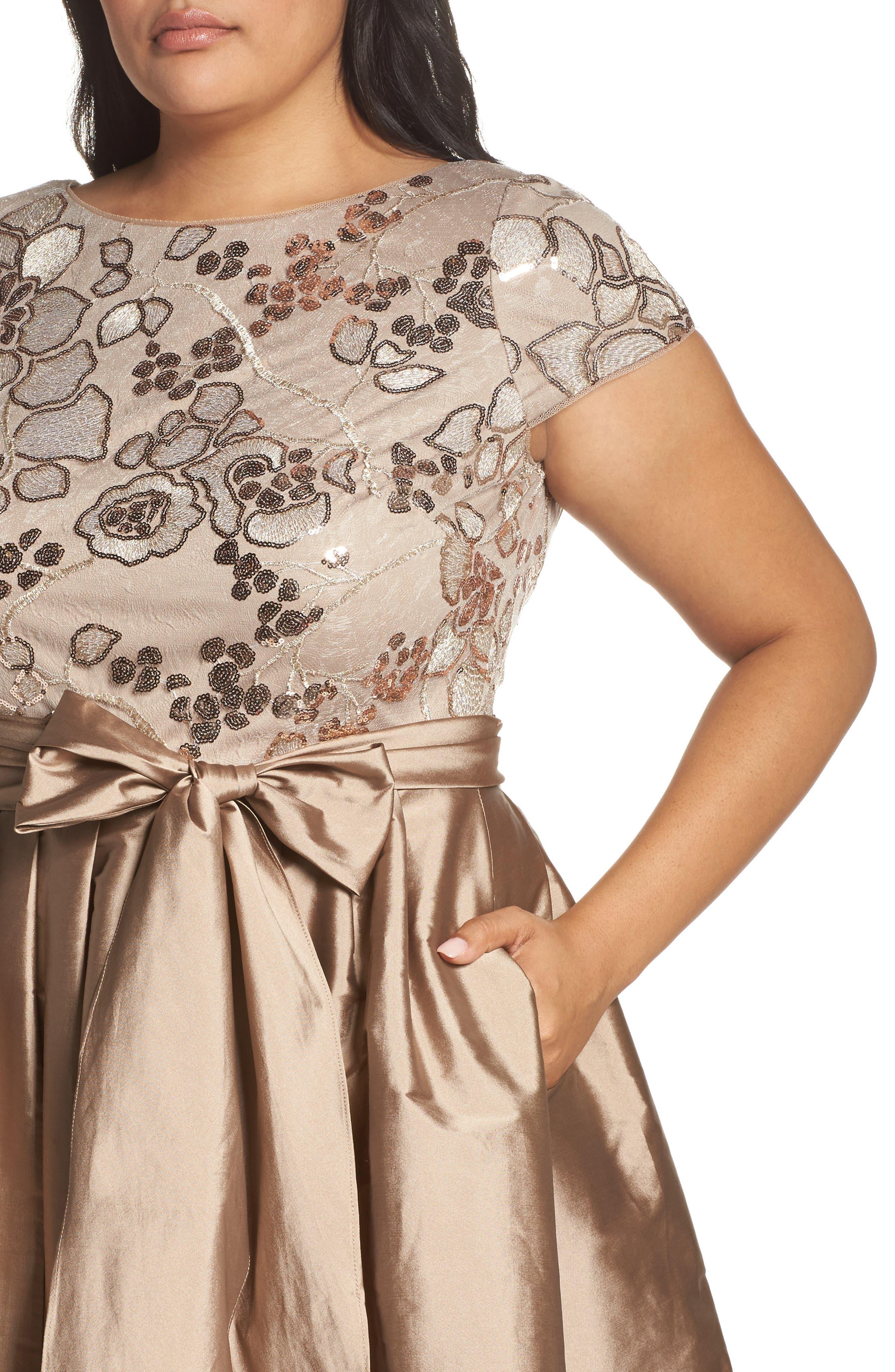 Alternate Image 4  - Adrianna Papell Embellished Bodice Party Dress (Plus Size)