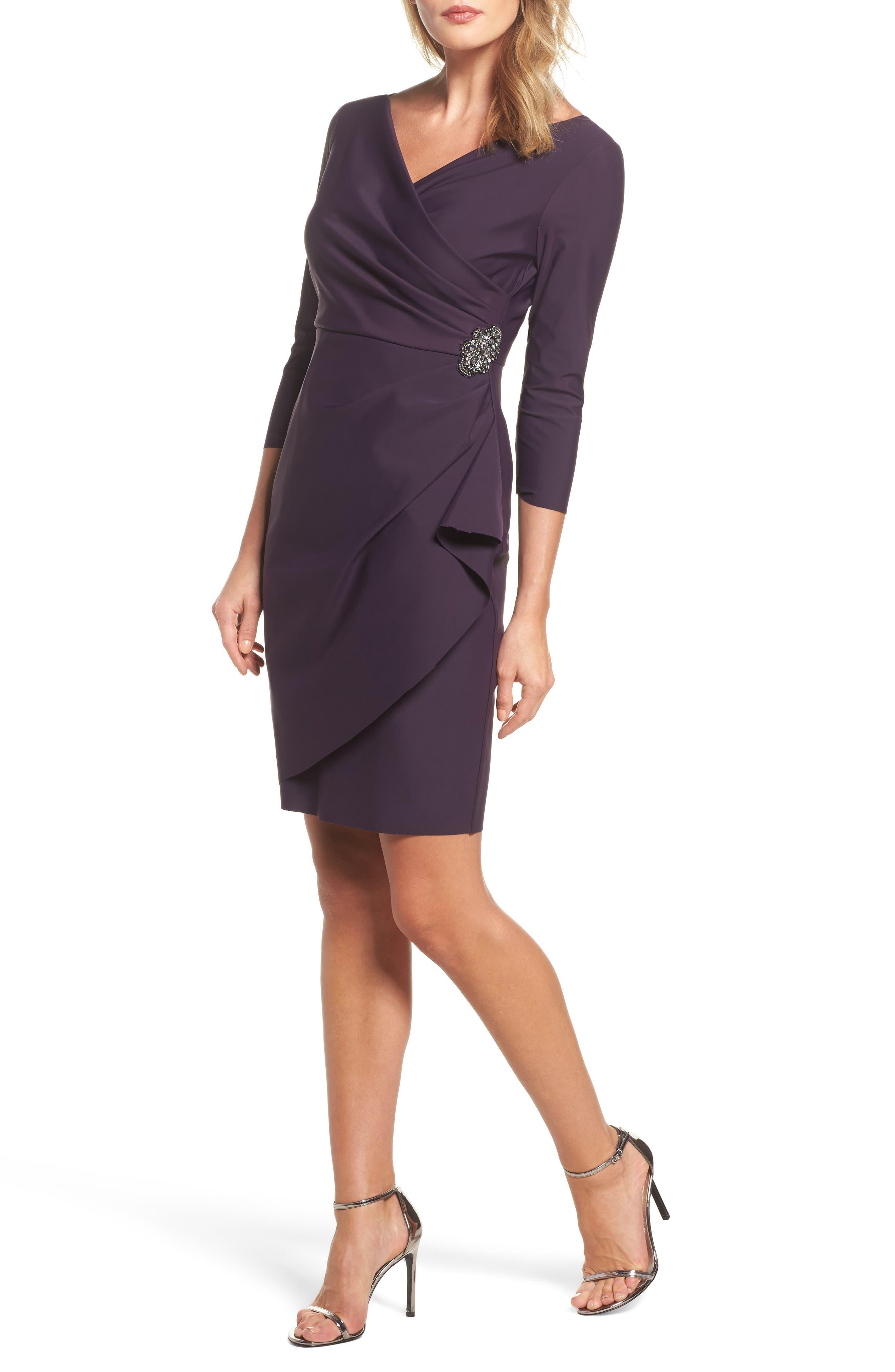 Alternate Image 1 Selected - Alex Evenings Embellished Ruched Sheath Dress (Regular & Petite)
