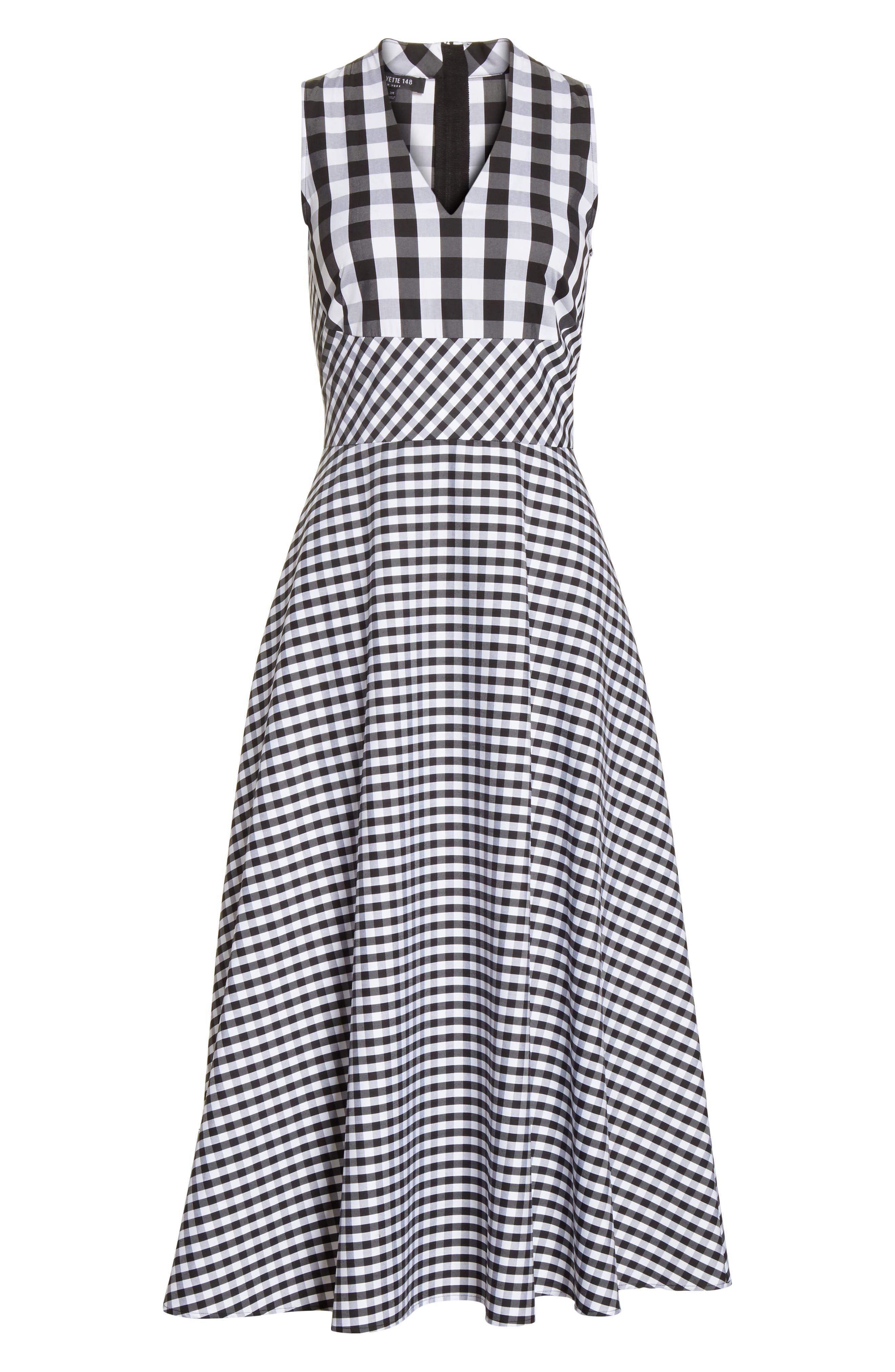 Adina Gingham Midi Dress,                             Alternate thumbnail 7, color,                             Black Multi