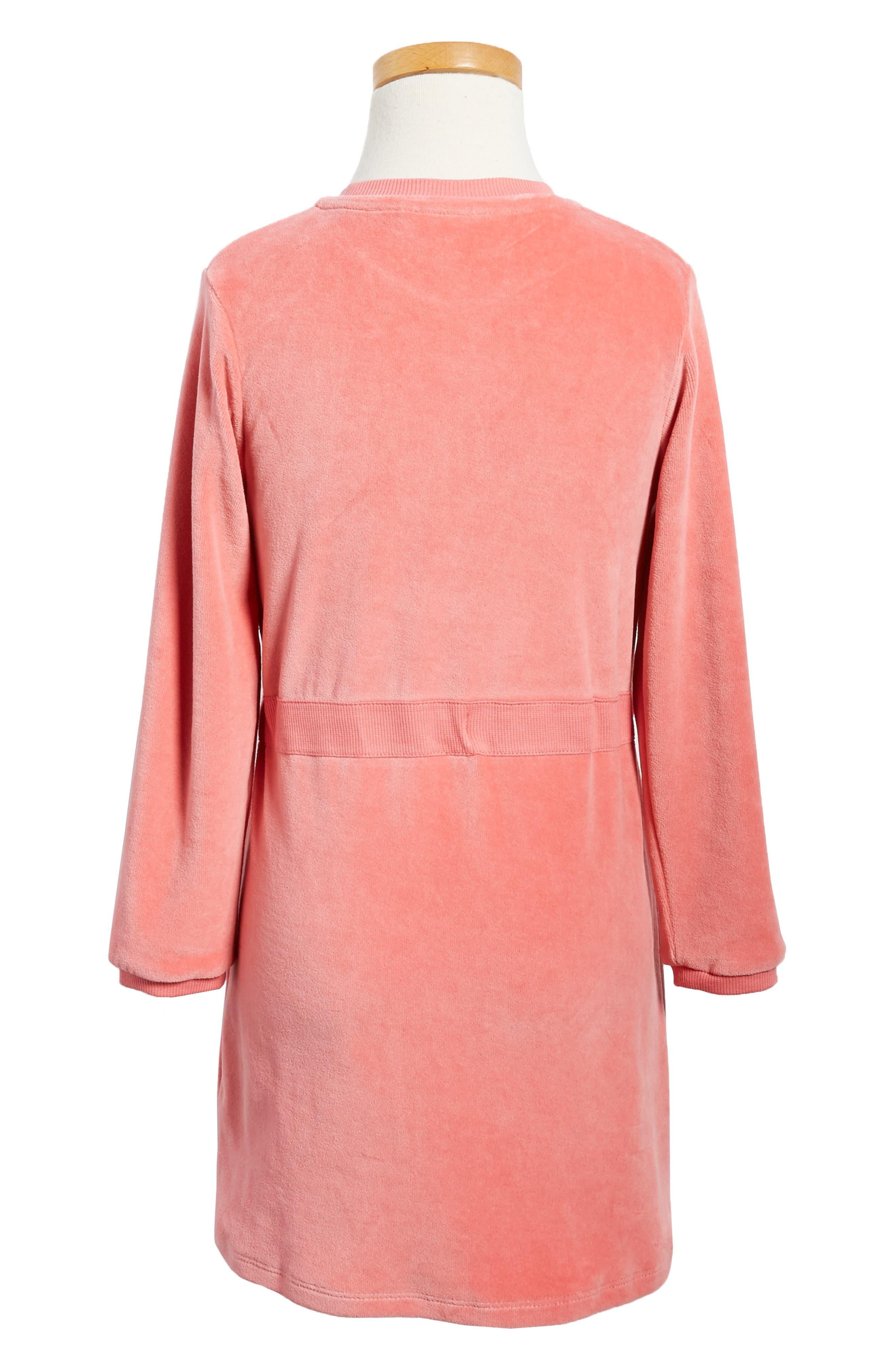 Alternate Image 2  - Mini Rodini Fox Appliqué Velour Dress (Toddler Girls & Little Girls)