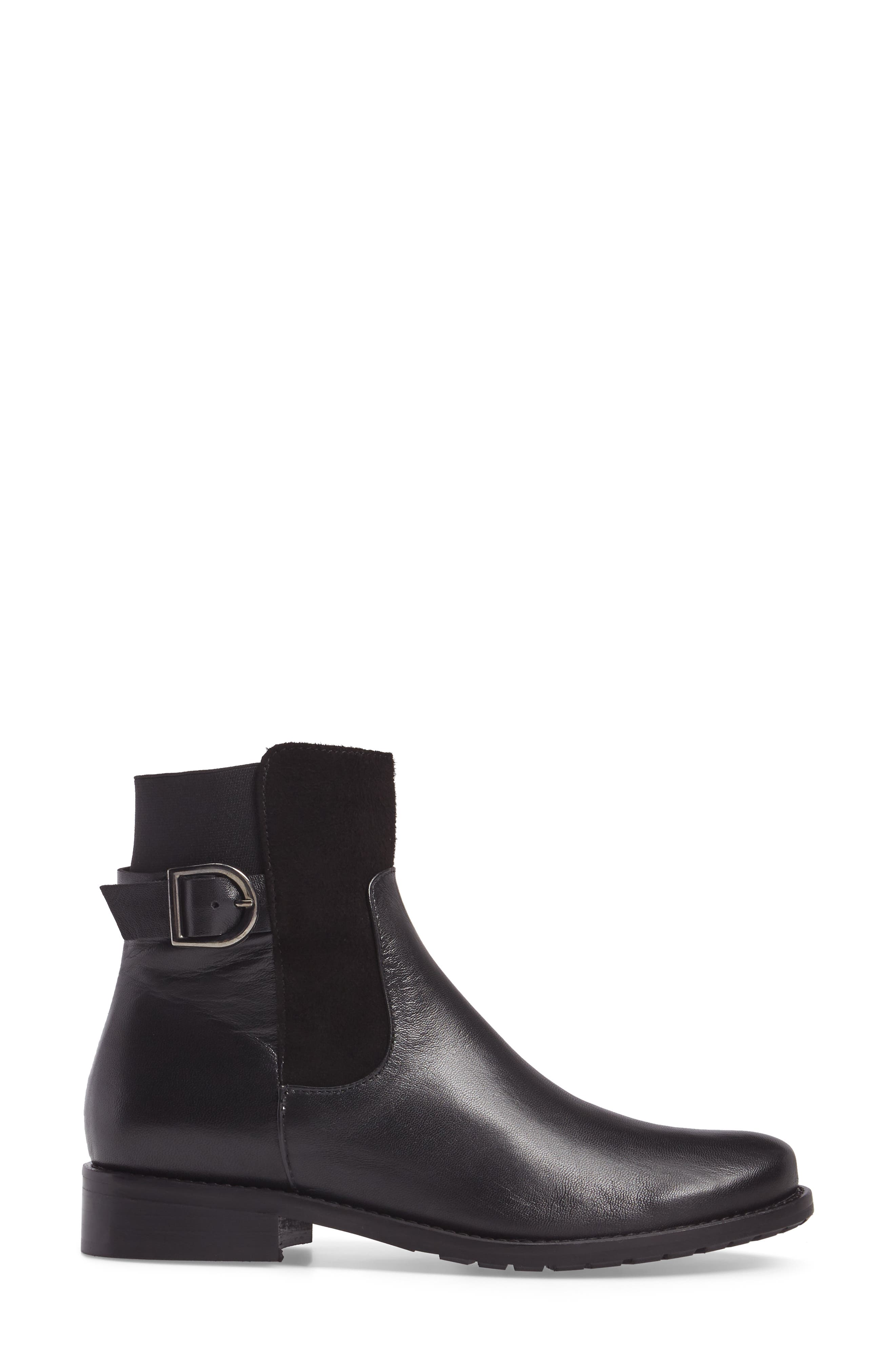 Samira Bootie,                             Alternate thumbnail 3, color,                             Black Leather