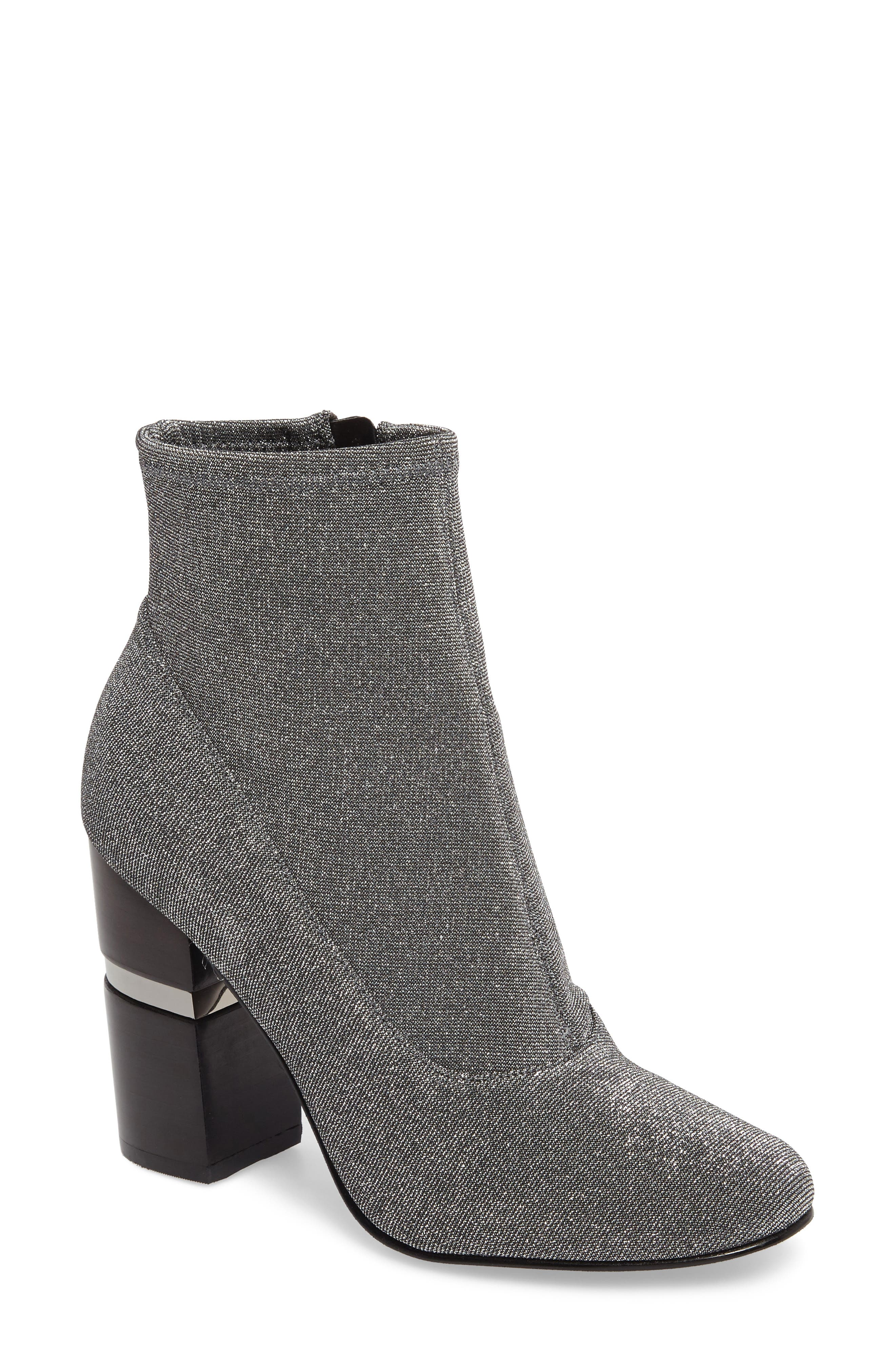 Padda Embellished Stretch Bootie,                         Main,                         color, Silver Glitter Fabric