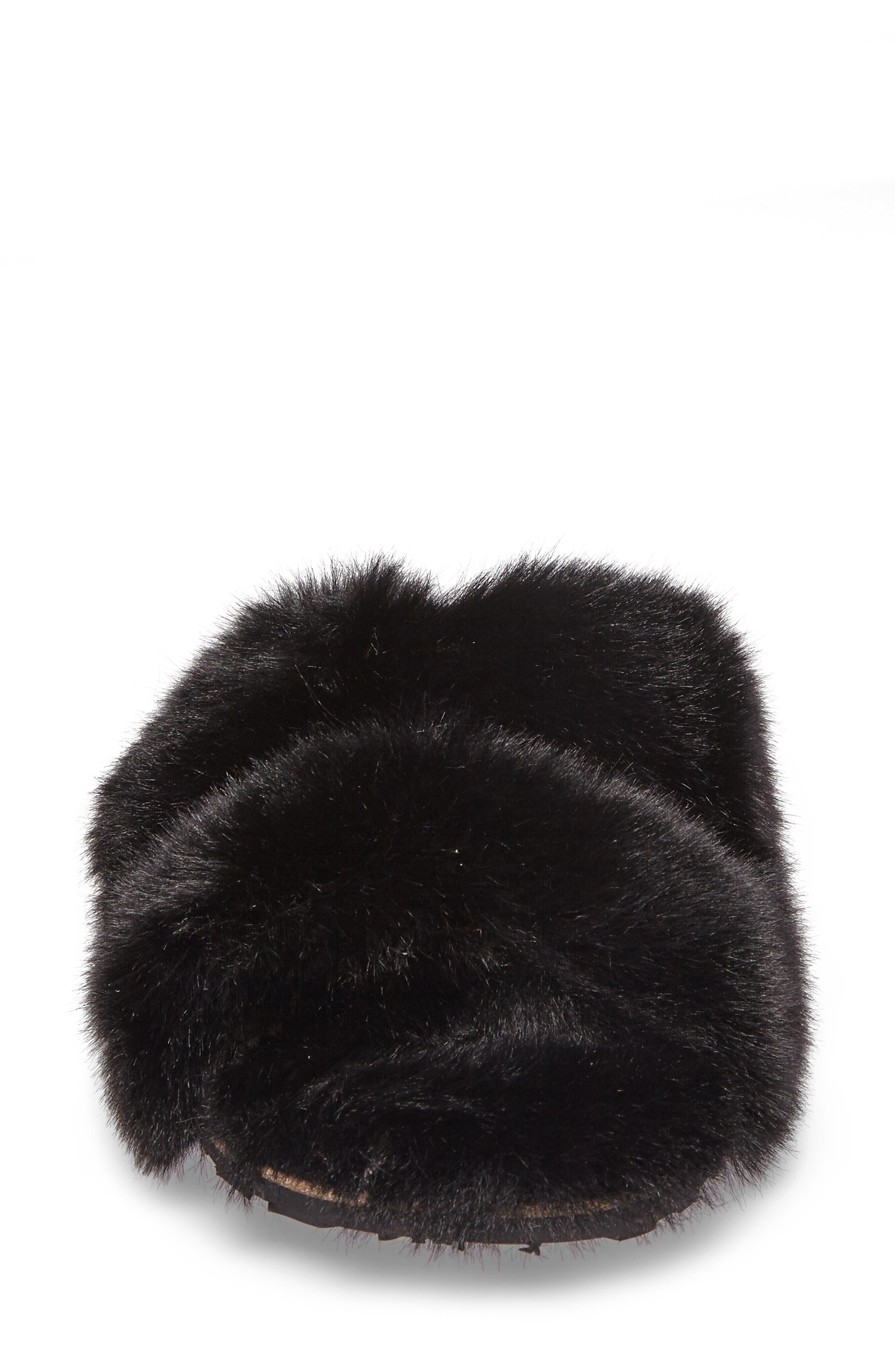 Faux Fur Sandal,                             Alternate thumbnail 4, color,                             Black