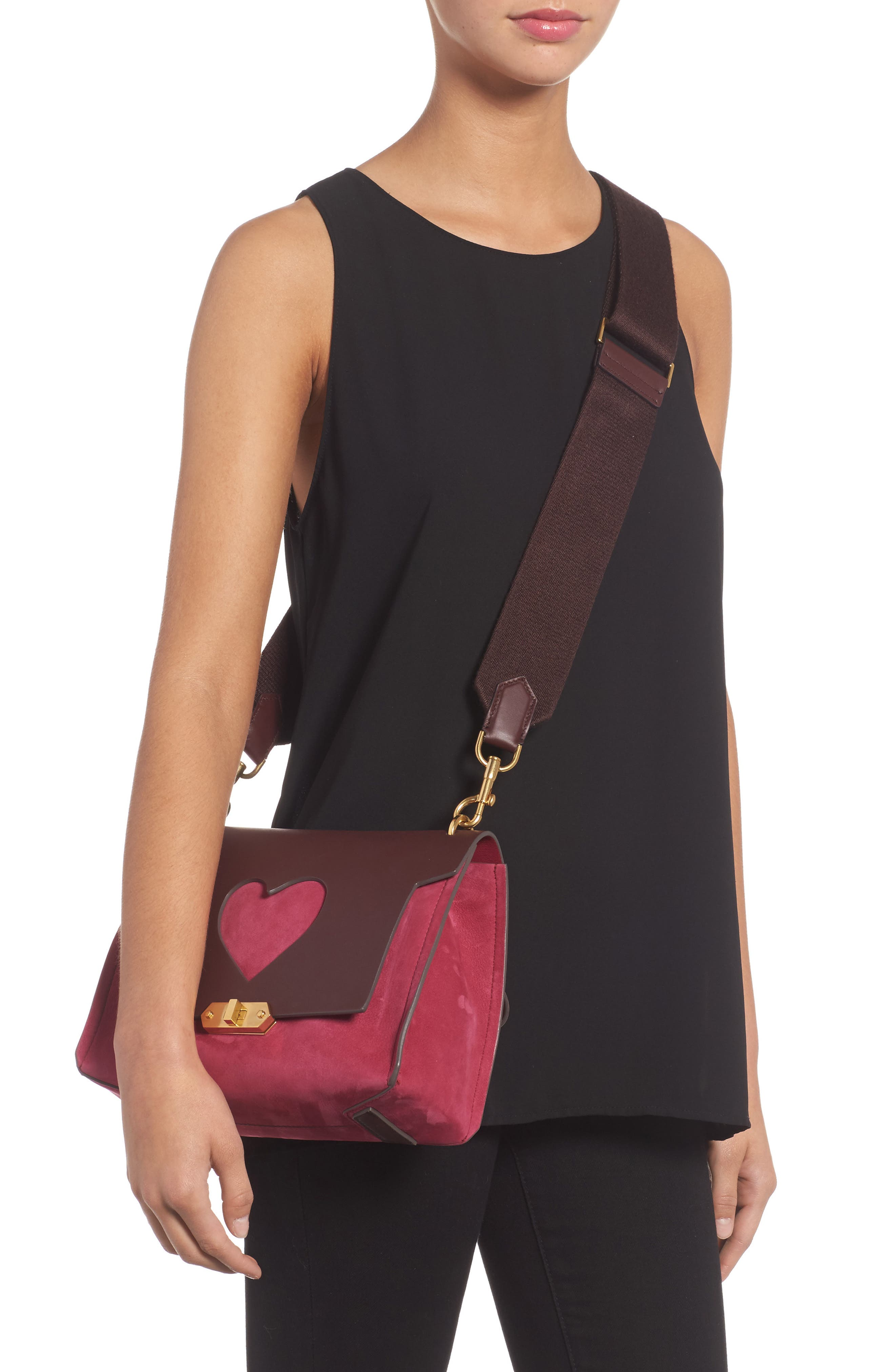 Extra Small Bathhurst Heart Leather Shoulder Bag,                             Alternate thumbnail 2, color,                             Raspberry