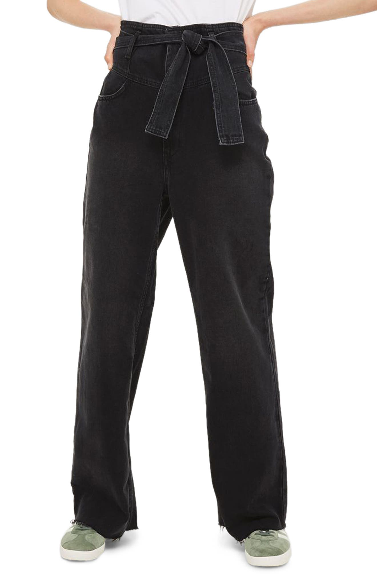 Topshop Belted Wide Leg Jeans