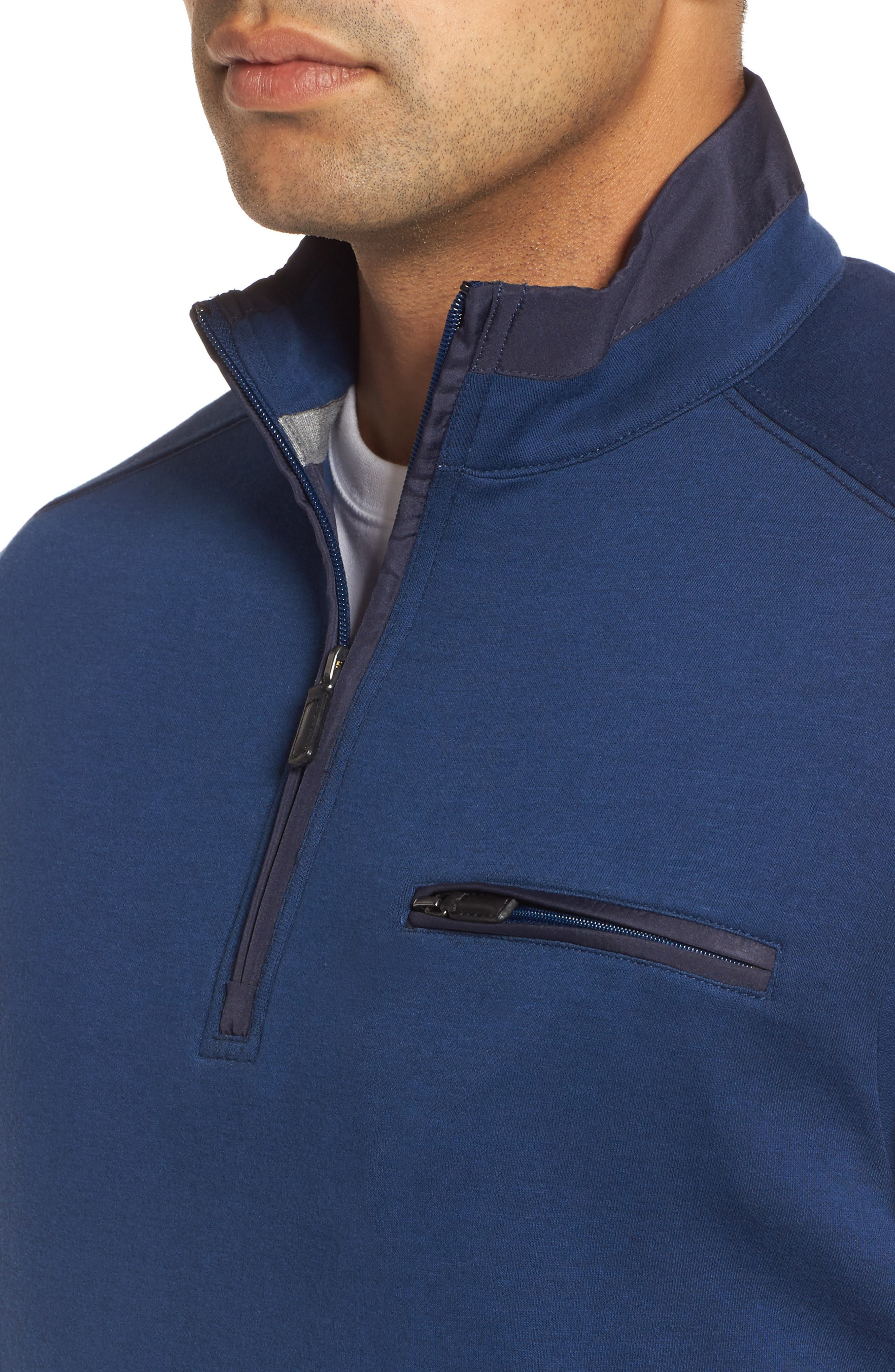 Classic Fit Solid Quarter Zip Pullover,                             Alternate thumbnail 4, color,                             Navy