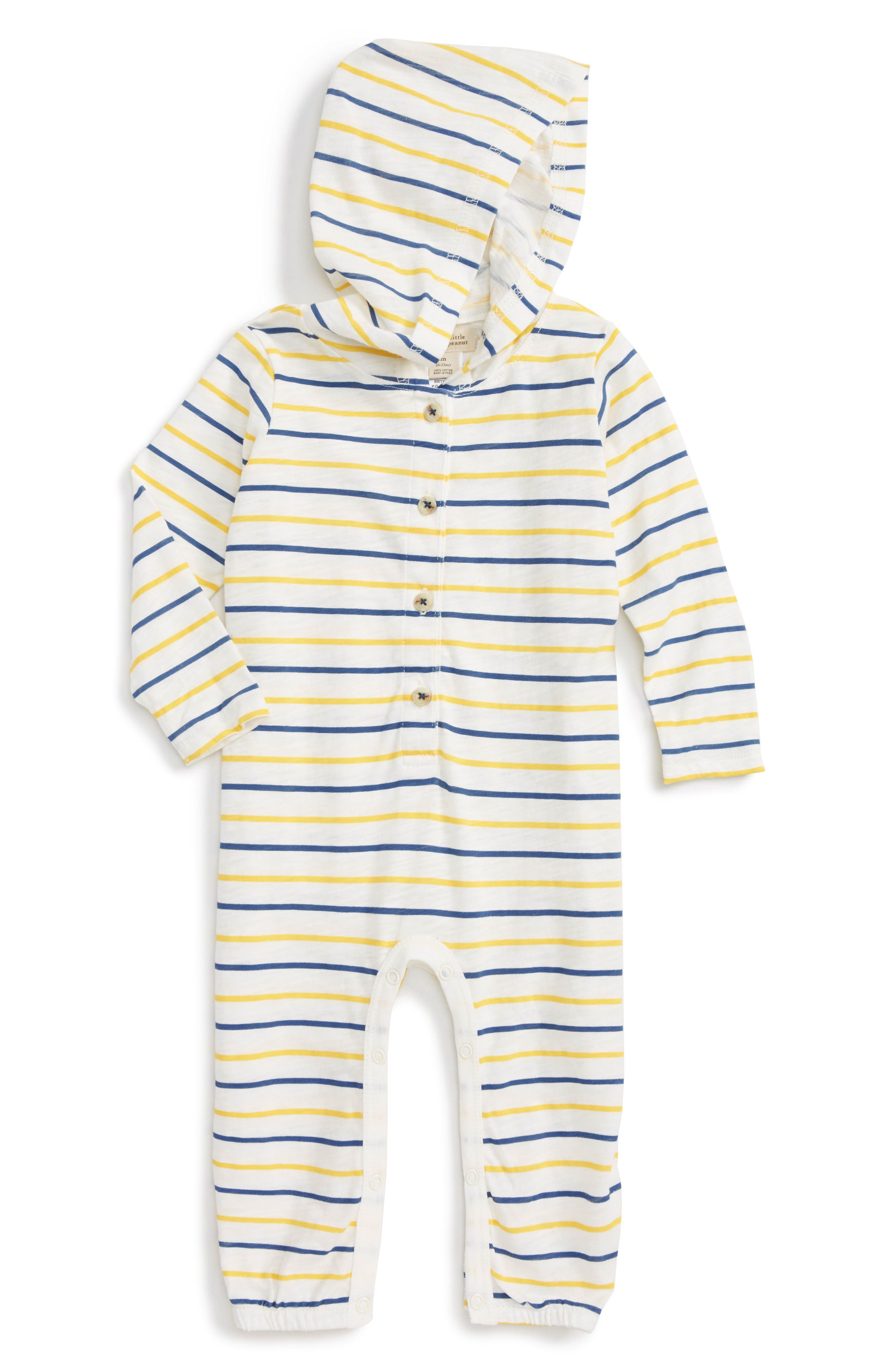 Main Image - Peek Stripe Hooded Romper (Baby Boys)