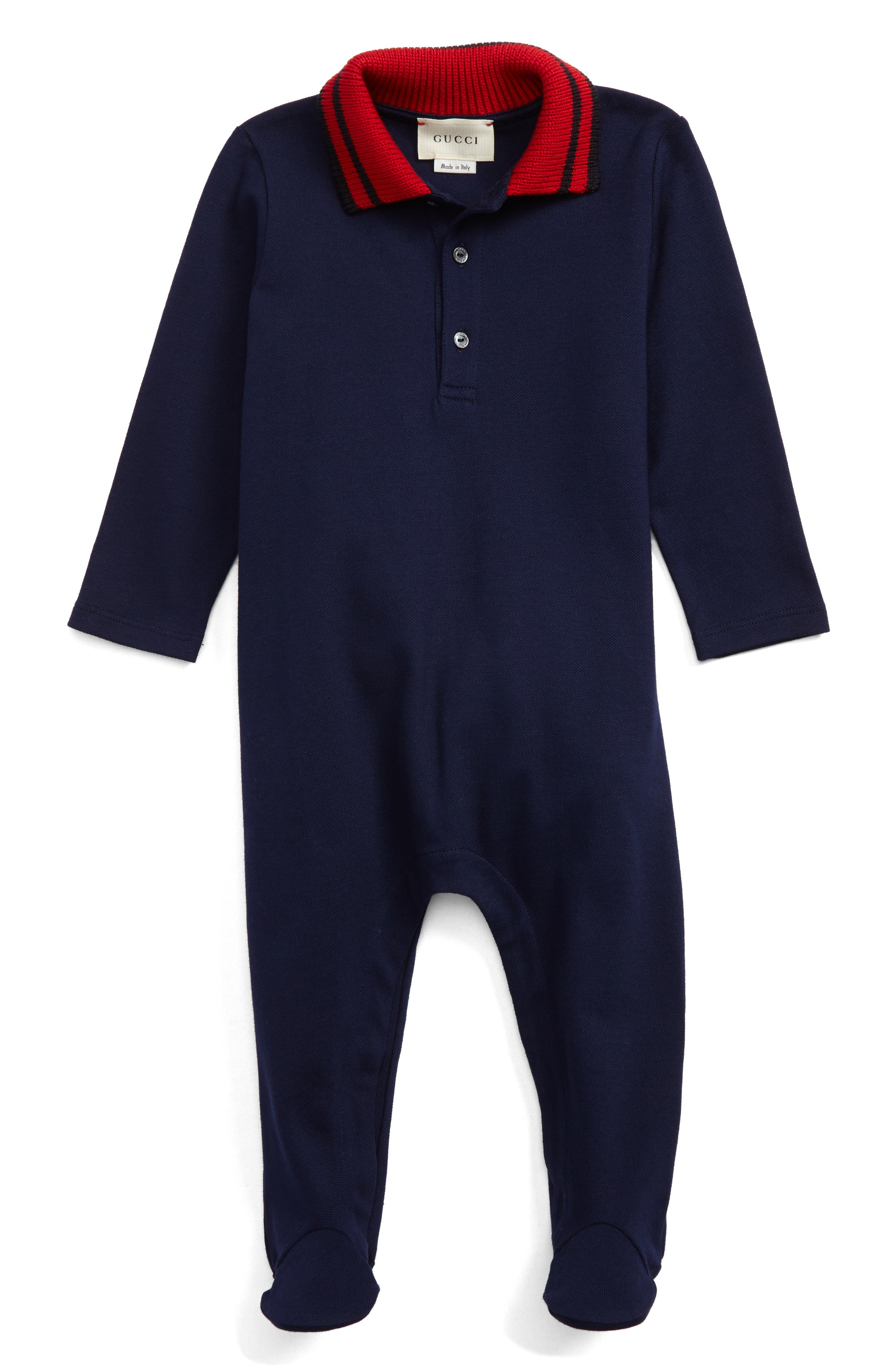 Main Image - Gucci Stripe Collar Footie (Baby)