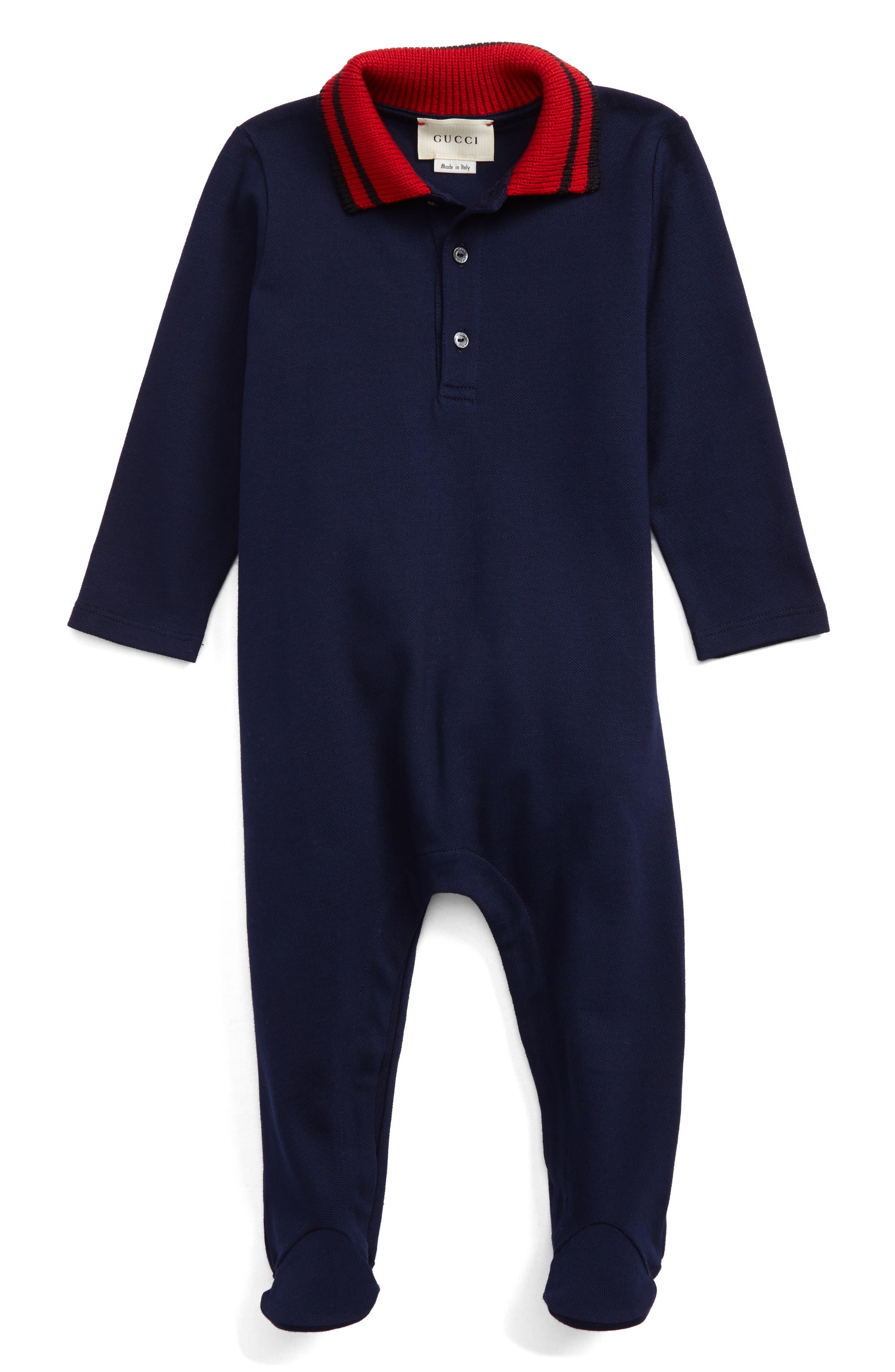 Stripe Collar Footie,                         Main,                         color, Blue Multi