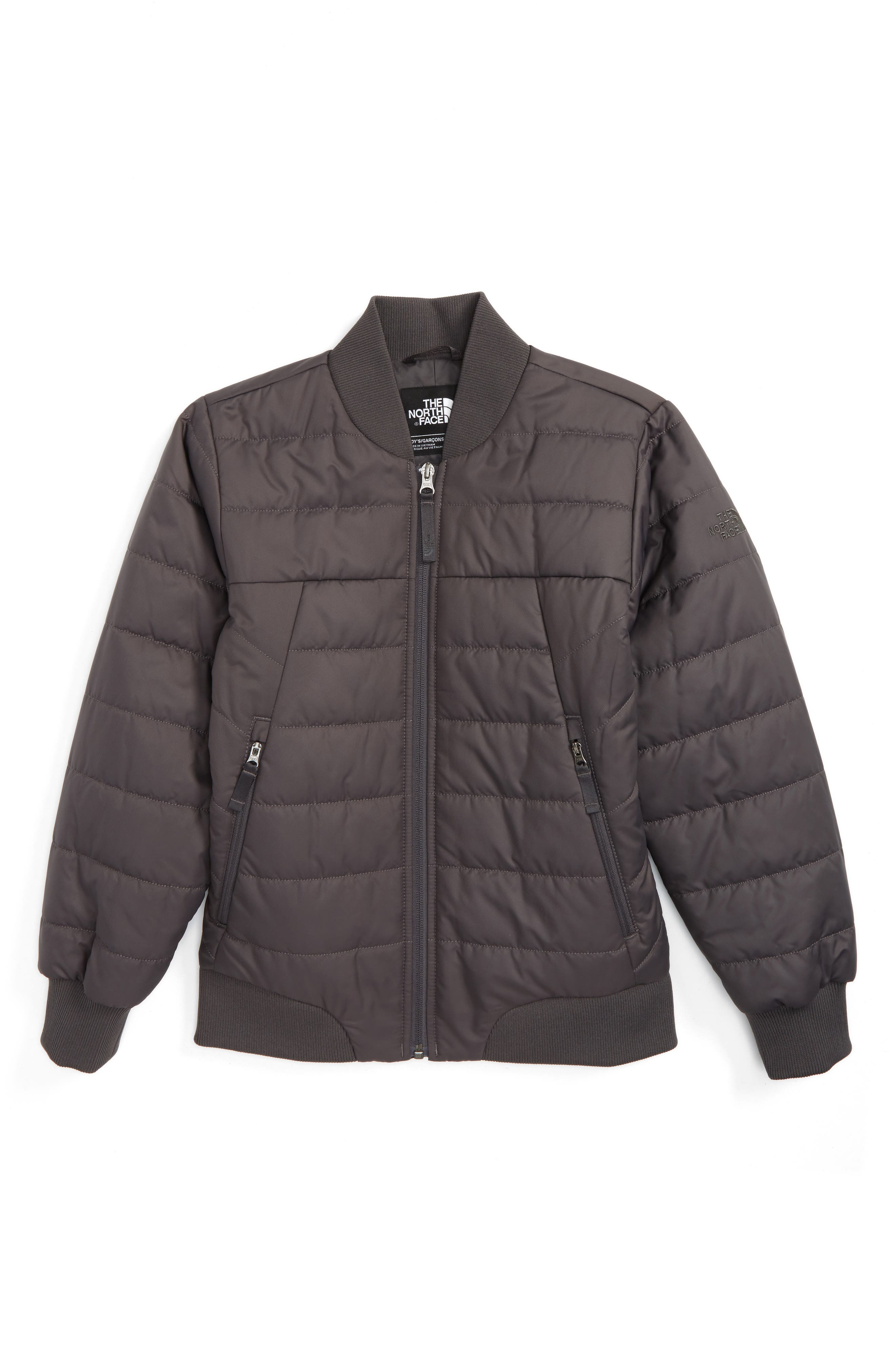 Bodenburg Quilted 550-Fill Down Insulated Bomber Jacket,                             Main thumbnail 1, color,                             Charcoal Grey